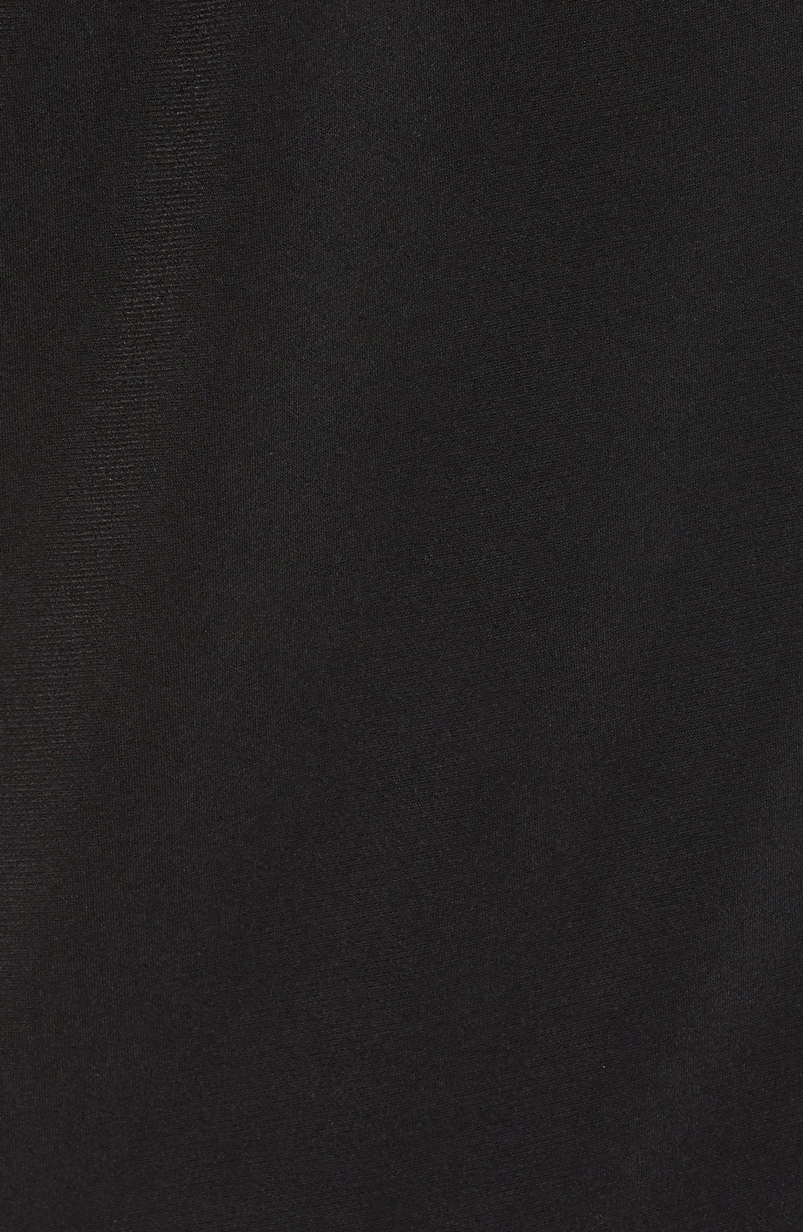 Grommet Neck Shirred Top,                             Alternate thumbnail 5, color,                             BLACK