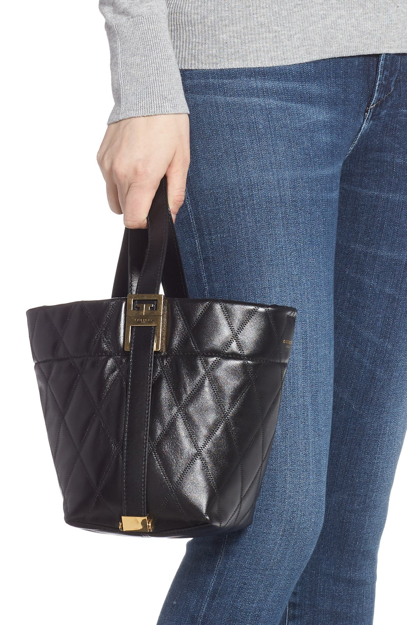 GIVENCHY,                             Mini GV Quilted Lambskin Leather Bucket Bag,                             Alternate thumbnail 3, color,                             BLACK