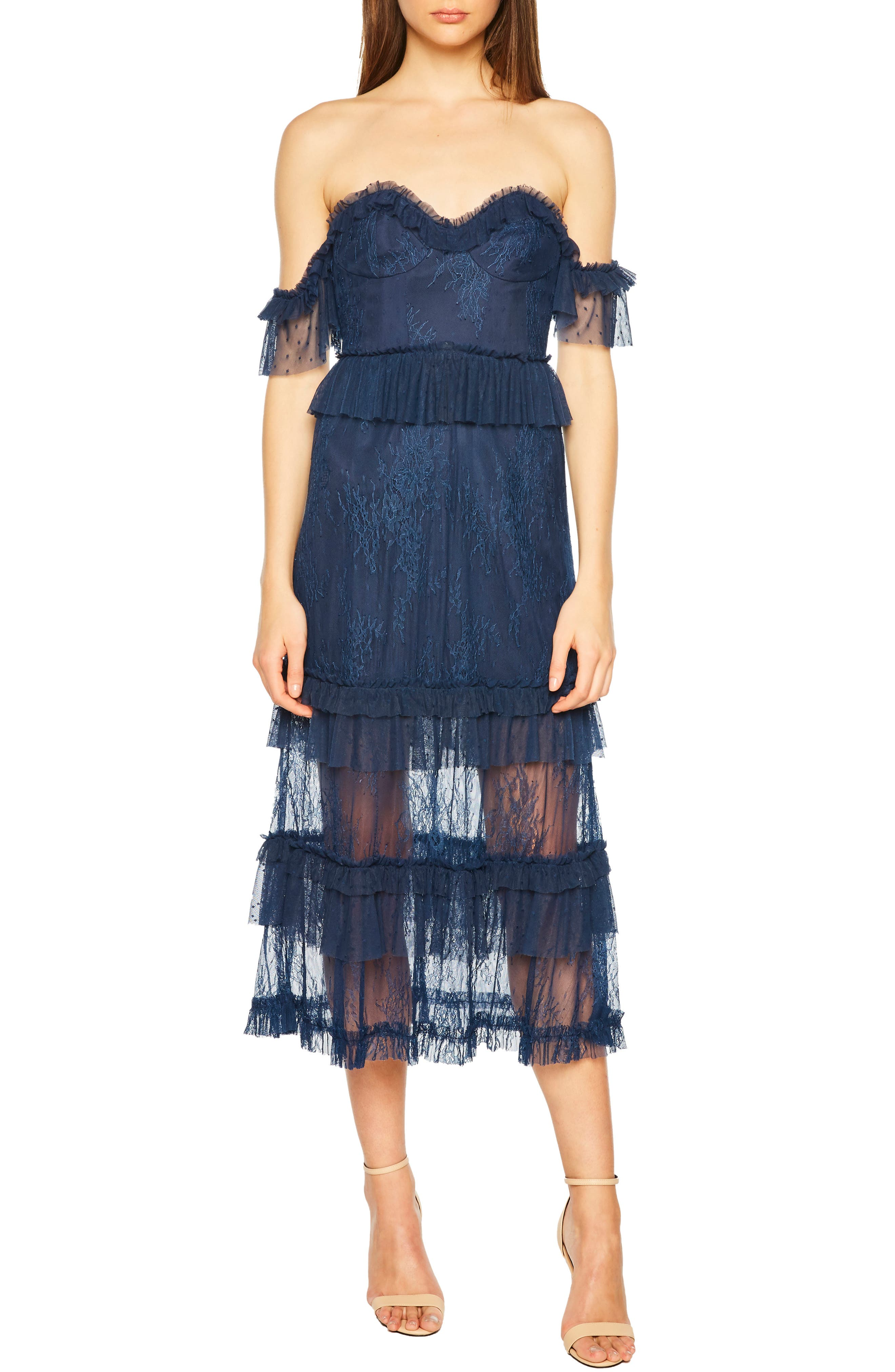 Bardot Splice Lace Off The Shoulder Dress