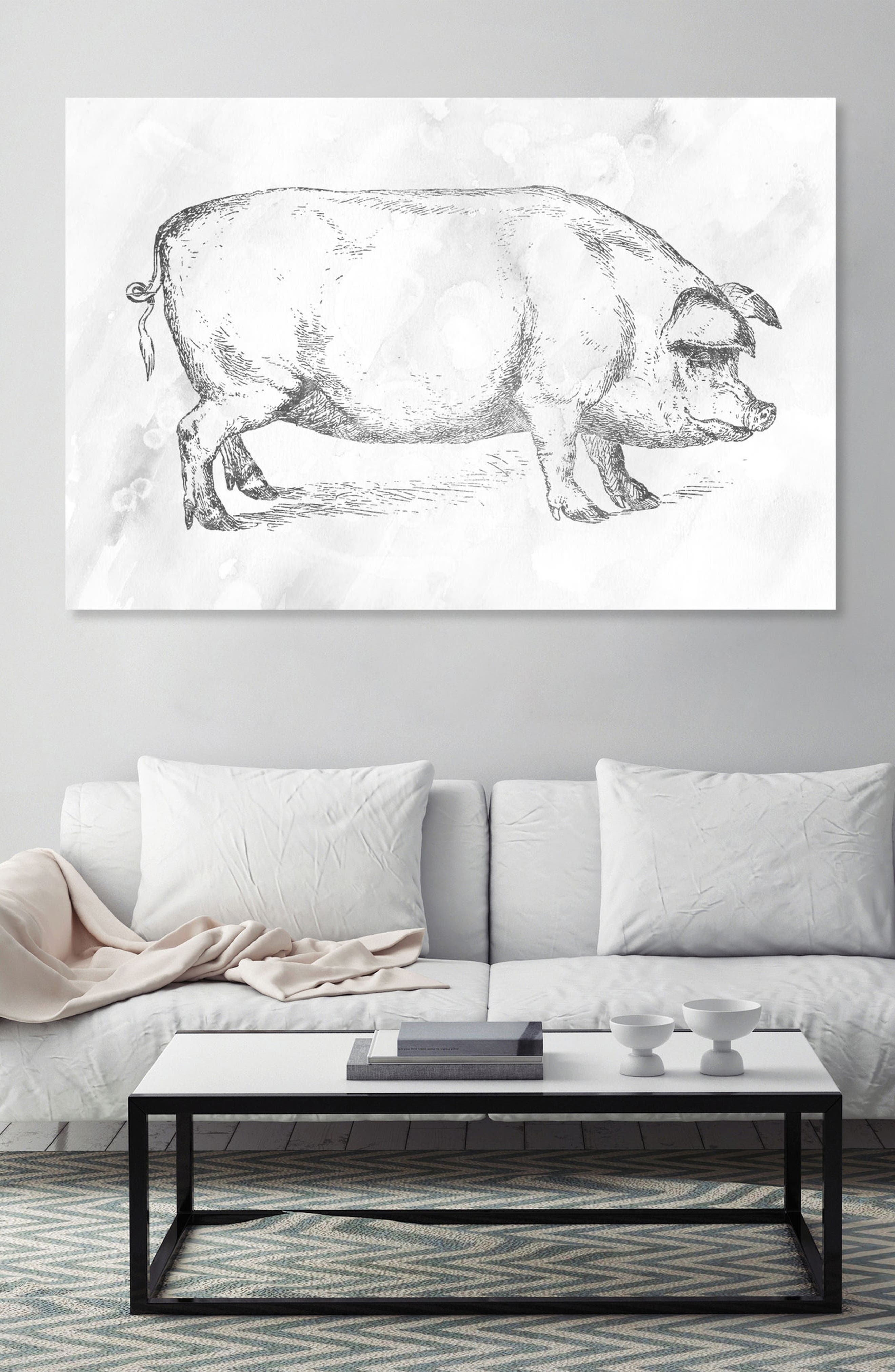Silver Pig Canvas Wall Art,                             Alternate thumbnail 2, color,