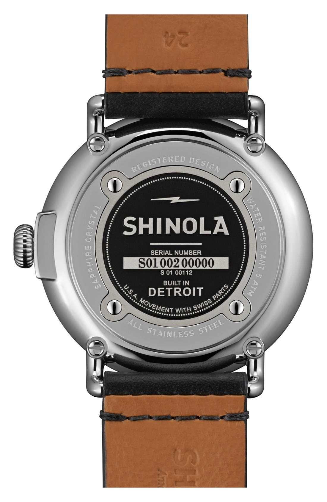 'The Runwell' Round Leather Strap Watch, 47mm,                             Alternate thumbnail 3, color,                             001
