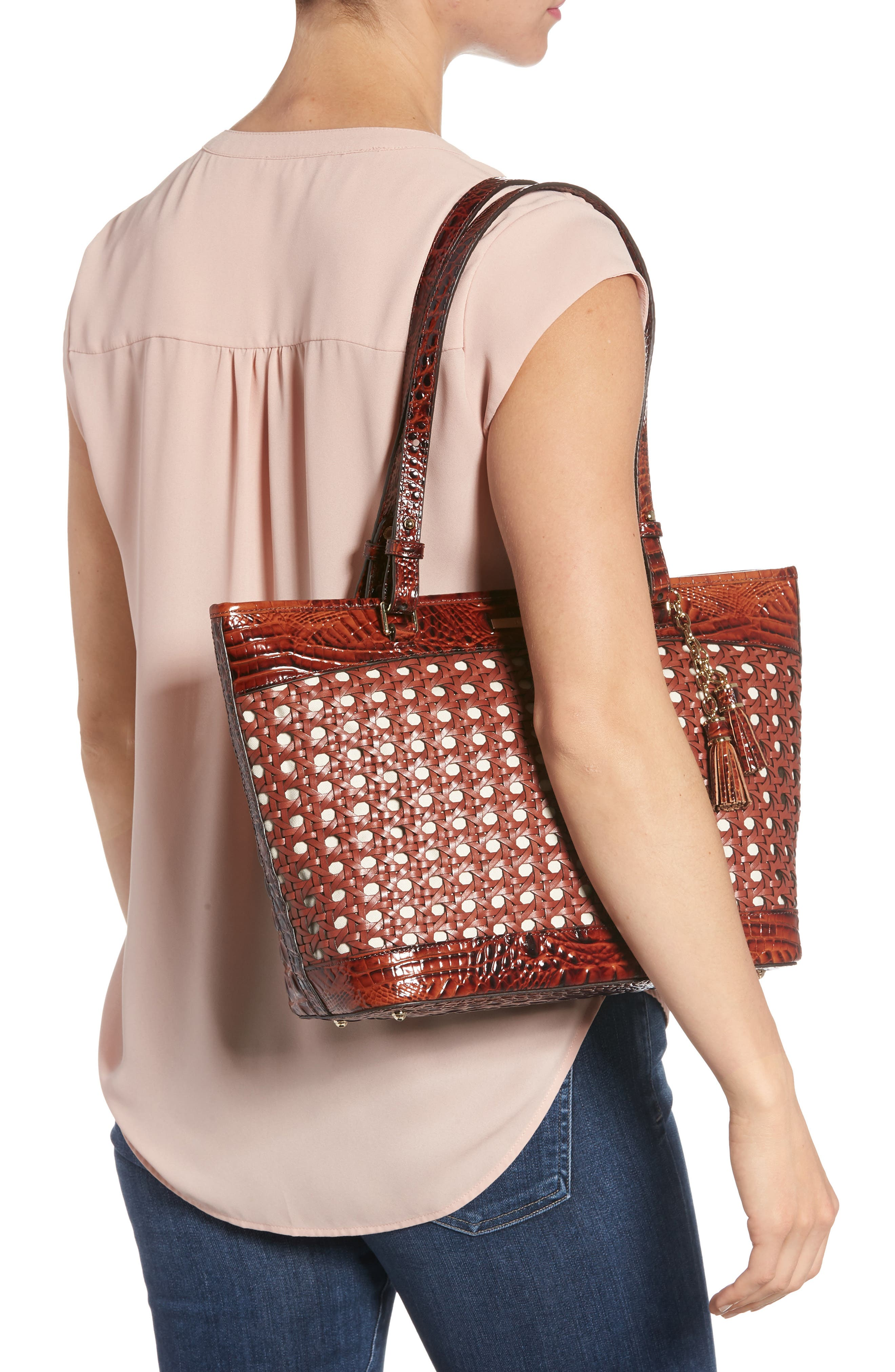 Medium Asher Leather Tote Bag,                             Alternate thumbnail 2, color,                             PECAN