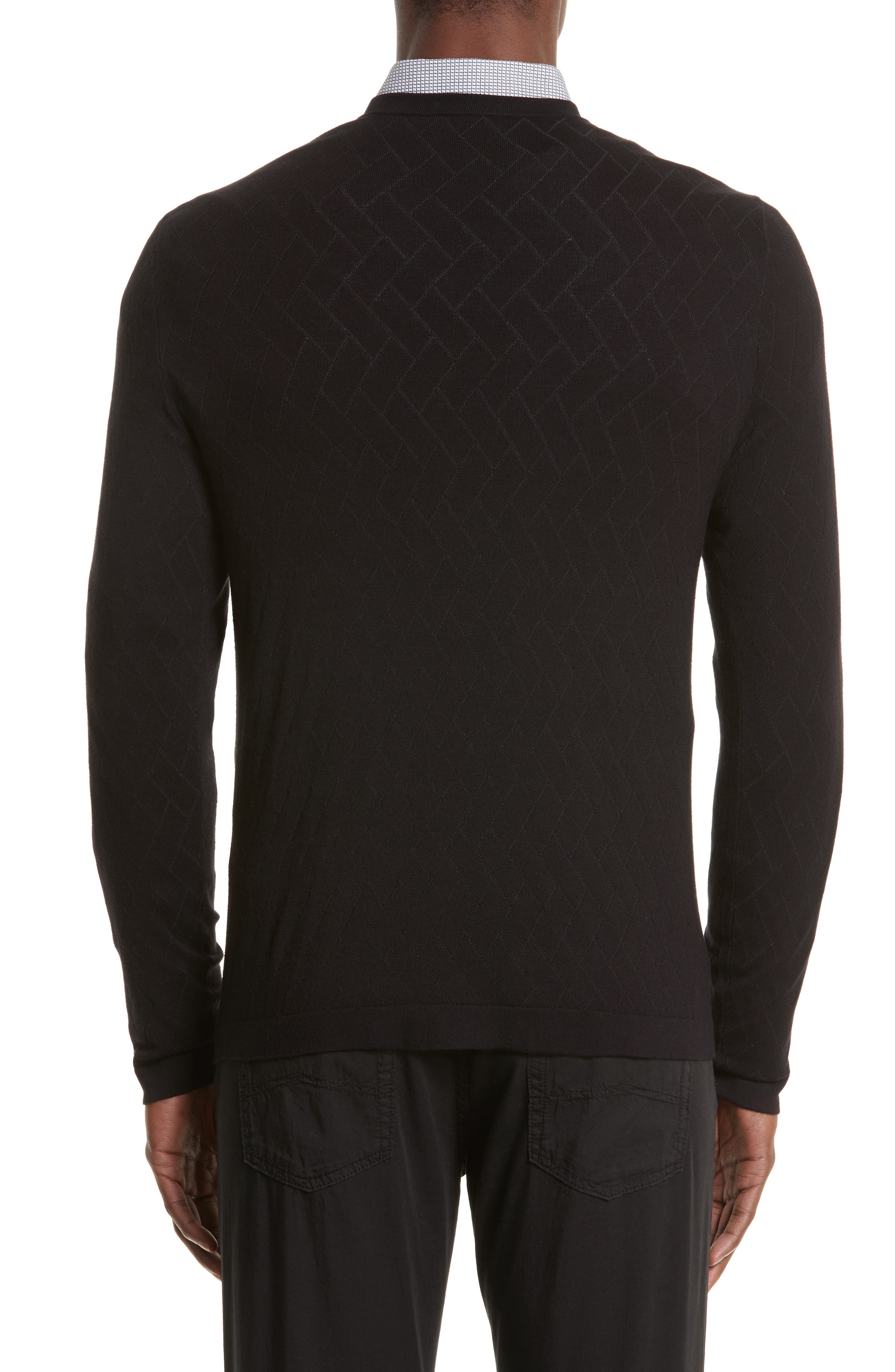 Plated Crewneck Sweater,                             Alternate thumbnail 2, color,                             001