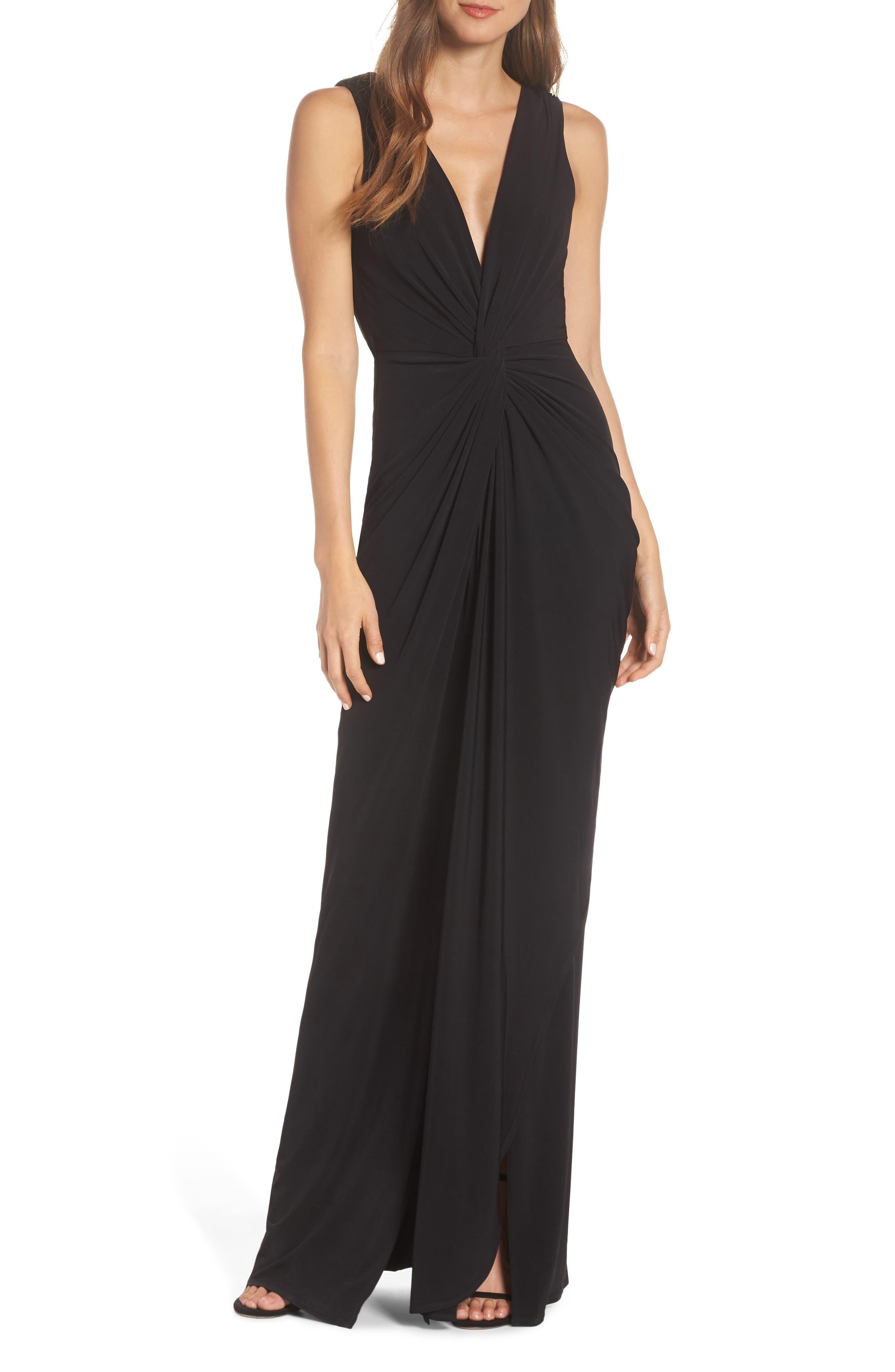Katie May Leo Twist Front Evening Dress, Black