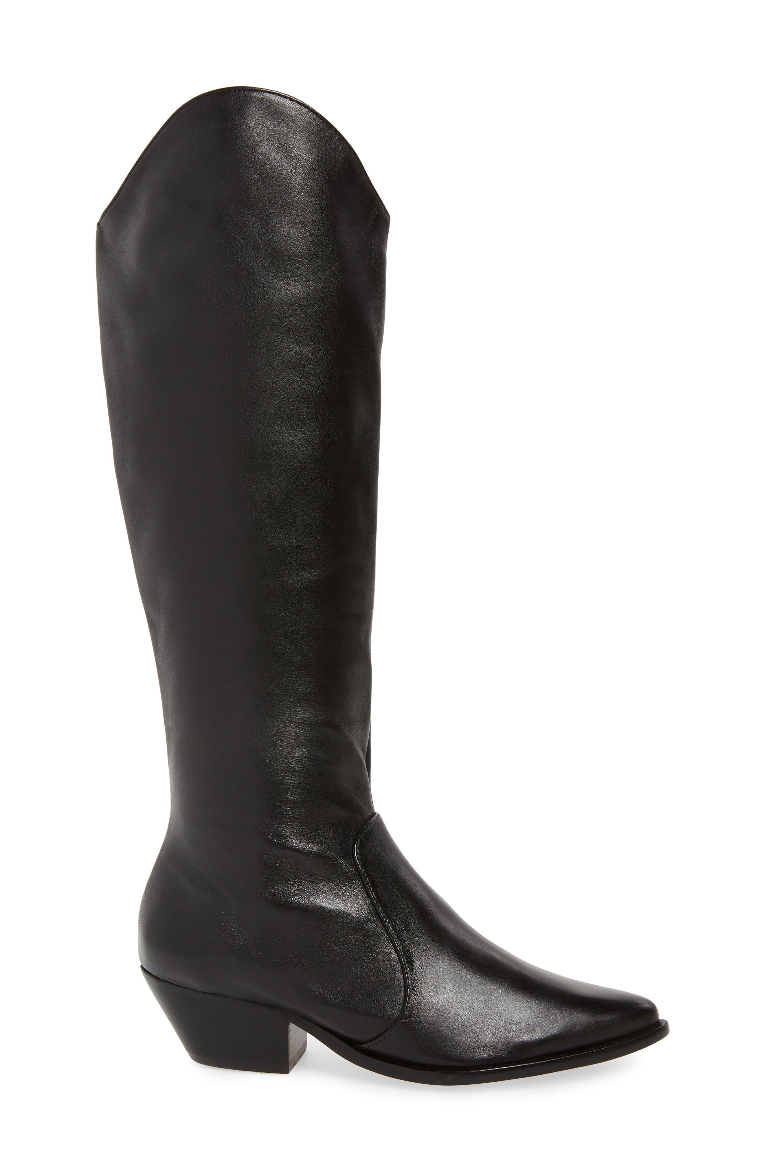 Fantinne Knee High Boot,                             Alternate thumbnail 3, color,                             BLACK LEATHER