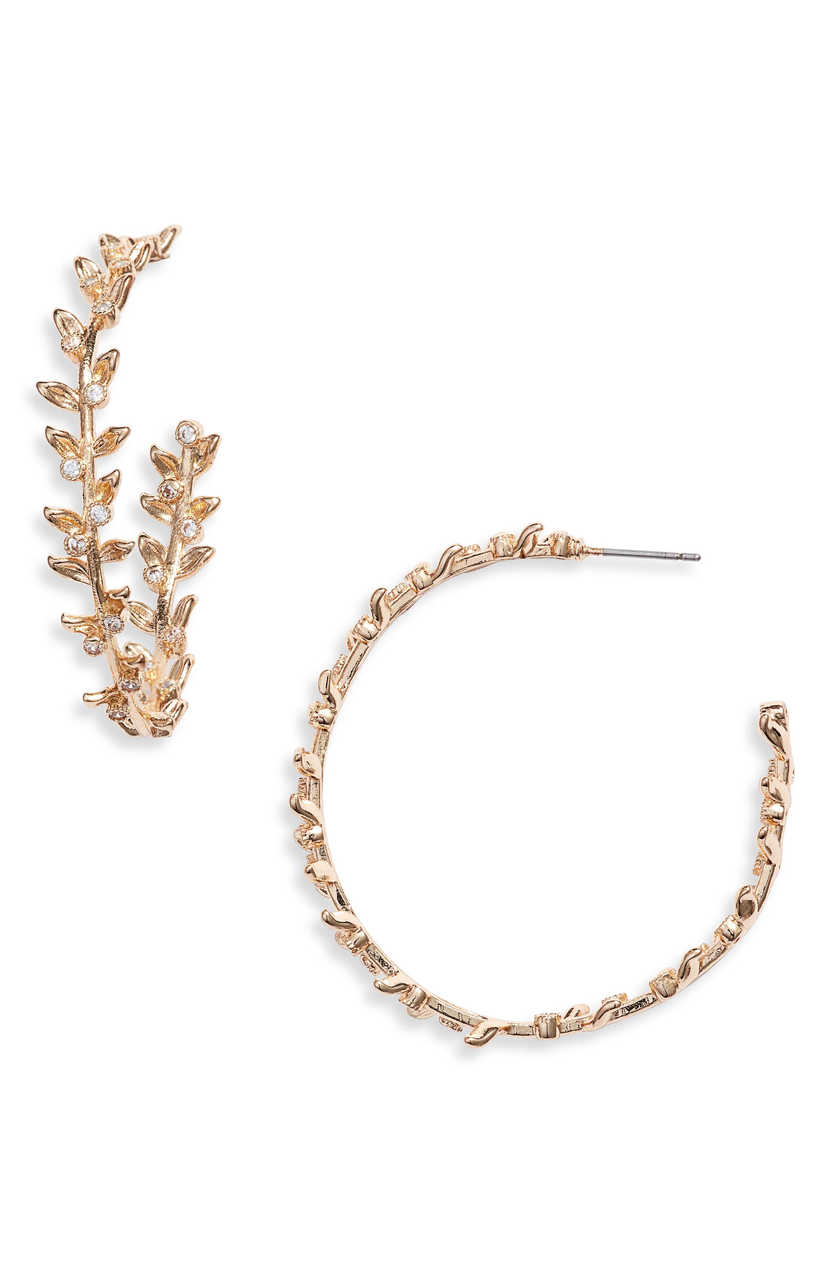 STELLA + RUBY Faith Hoop Earrings, Main, color, GOLD
