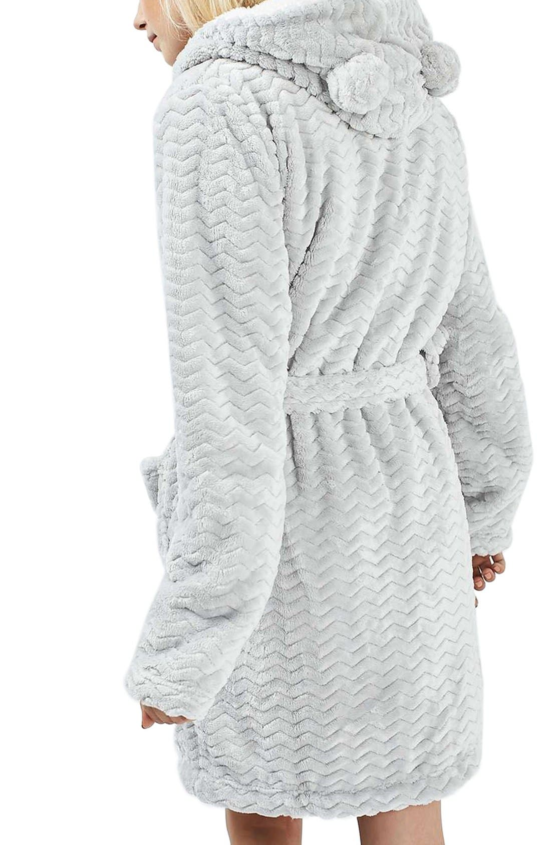TOPSHOP,                             Teddy Hooded Chevron Robe,                             Alternate thumbnail 4, color,                             020