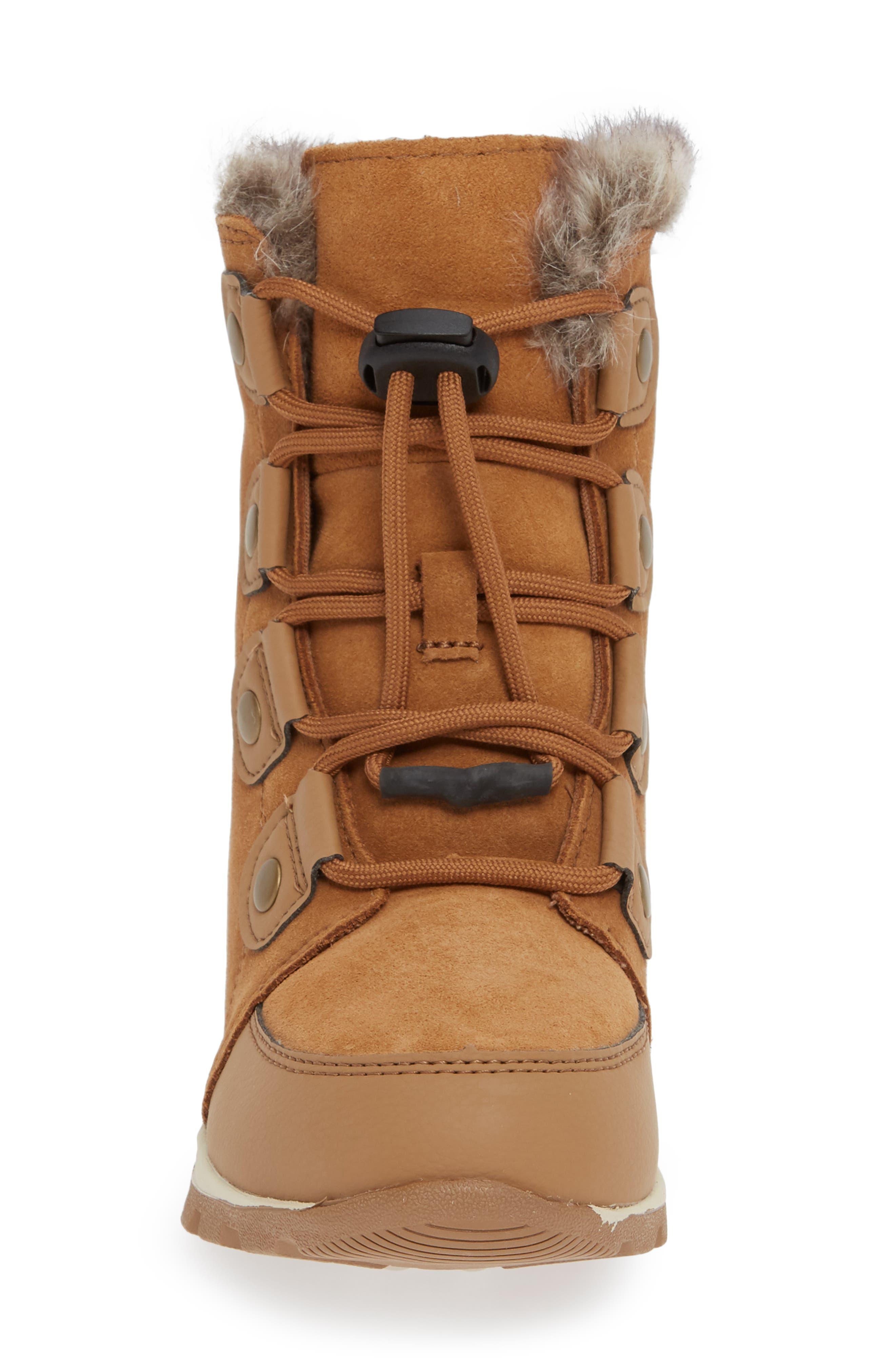 Whitney Suede Waterproof Faux Fur Boot,                             Alternate thumbnail 4, color,                             ELK/ NATURAL