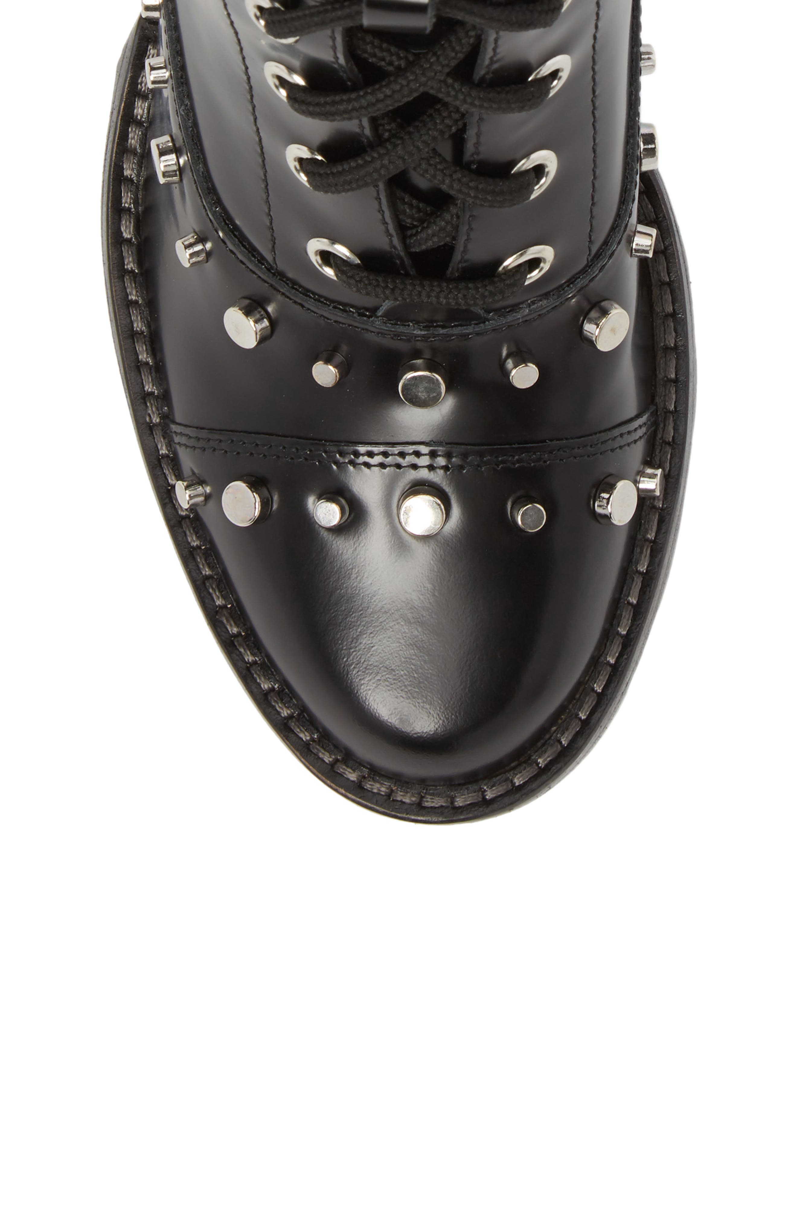 Westly Combat Boot,                             Alternate thumbnail 5, color,                             BLACK LEATHER
