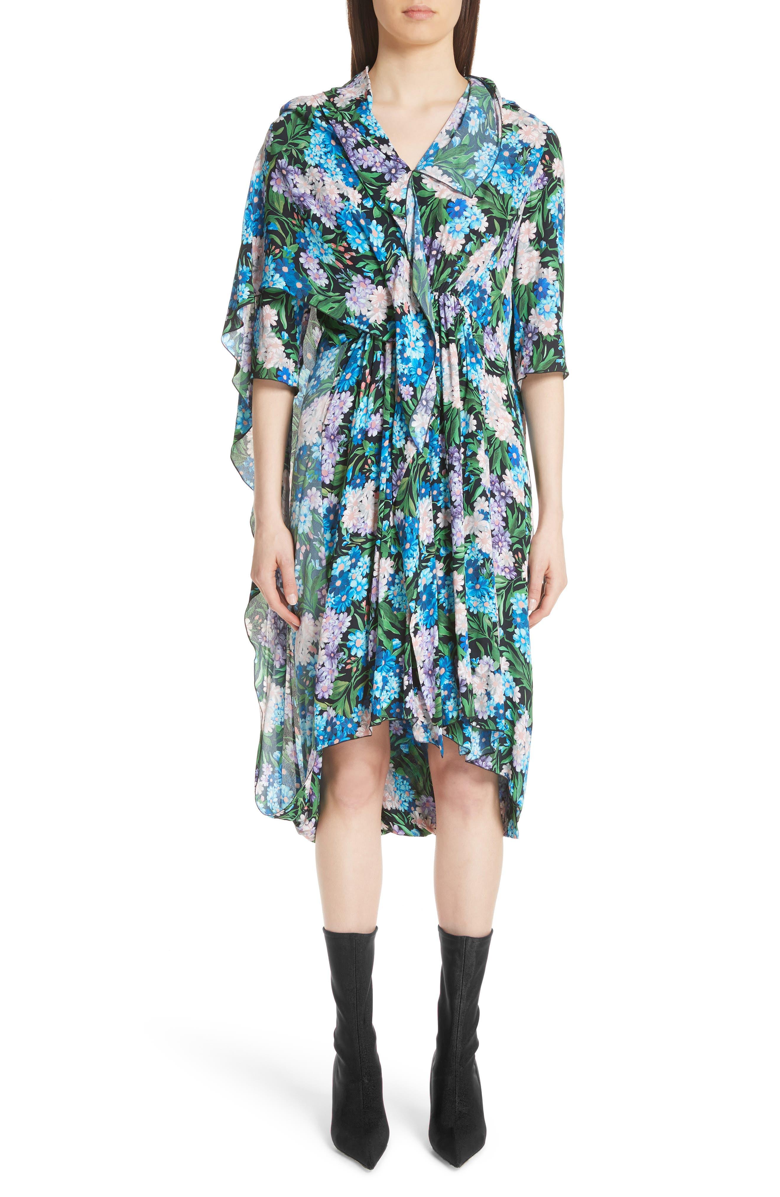 Balenciaga Floral Print Cape Detail Dress