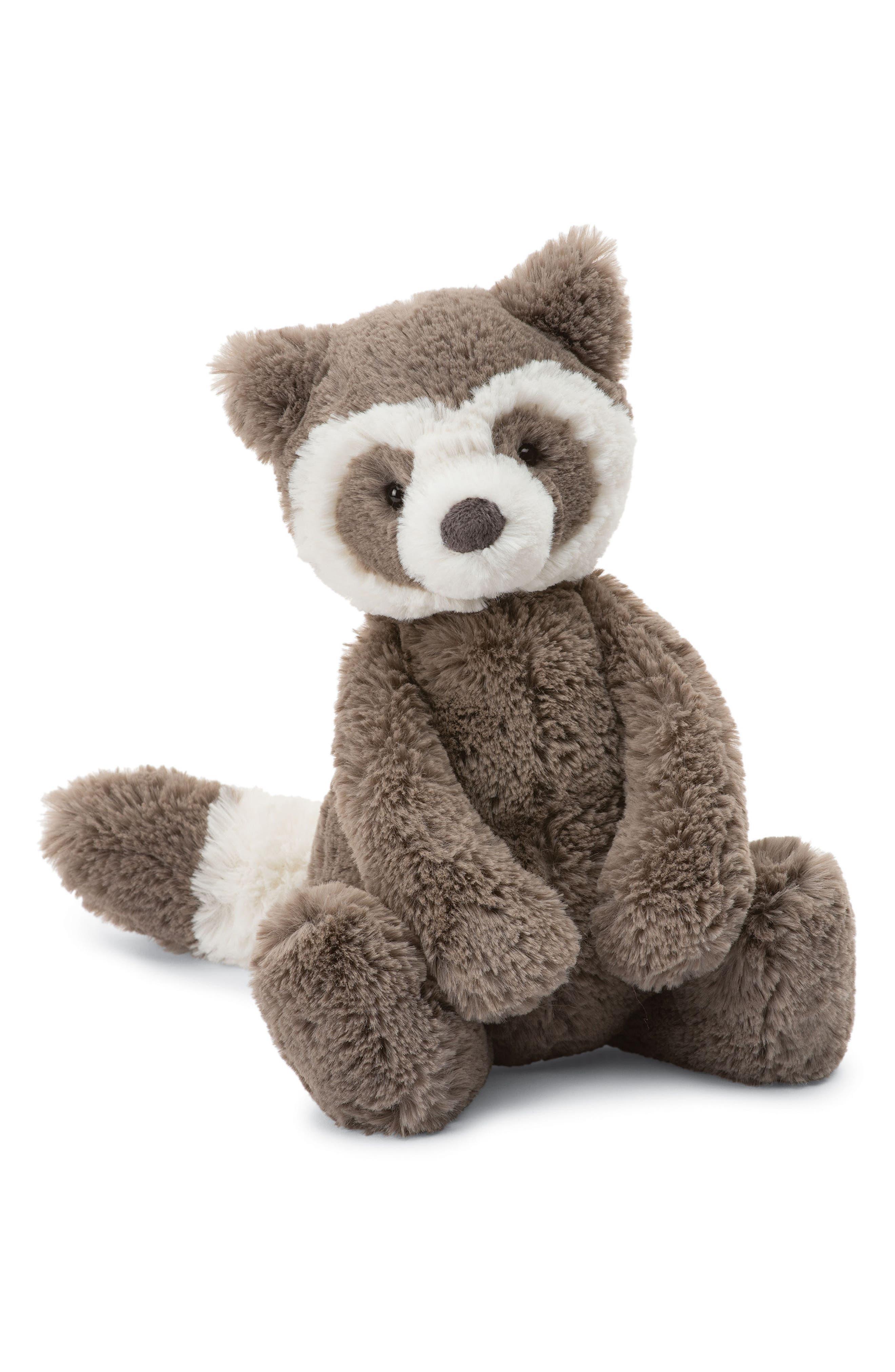 Bashful Raccoon Stuffed Animal,                         Main,                         color, BROWN/ CREAM