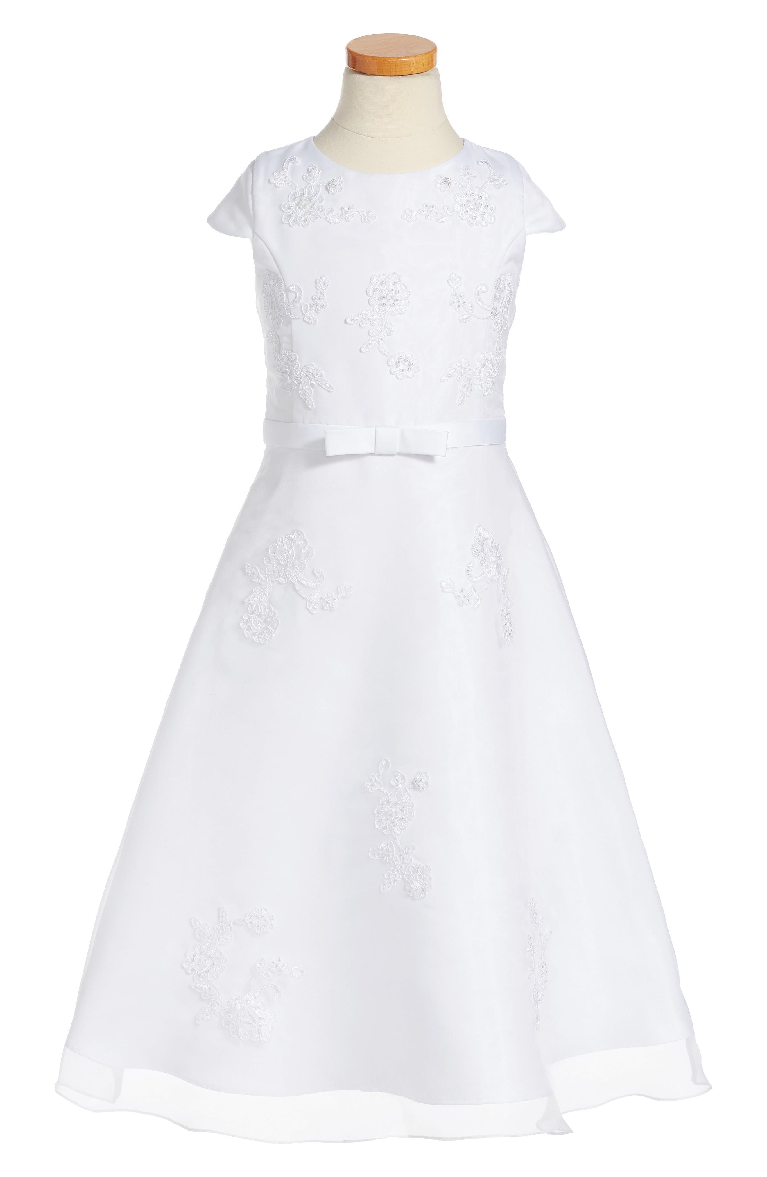 Lace Floral Fit & Flare Dress,                             Main thumbnail 1, color,                             WHITE