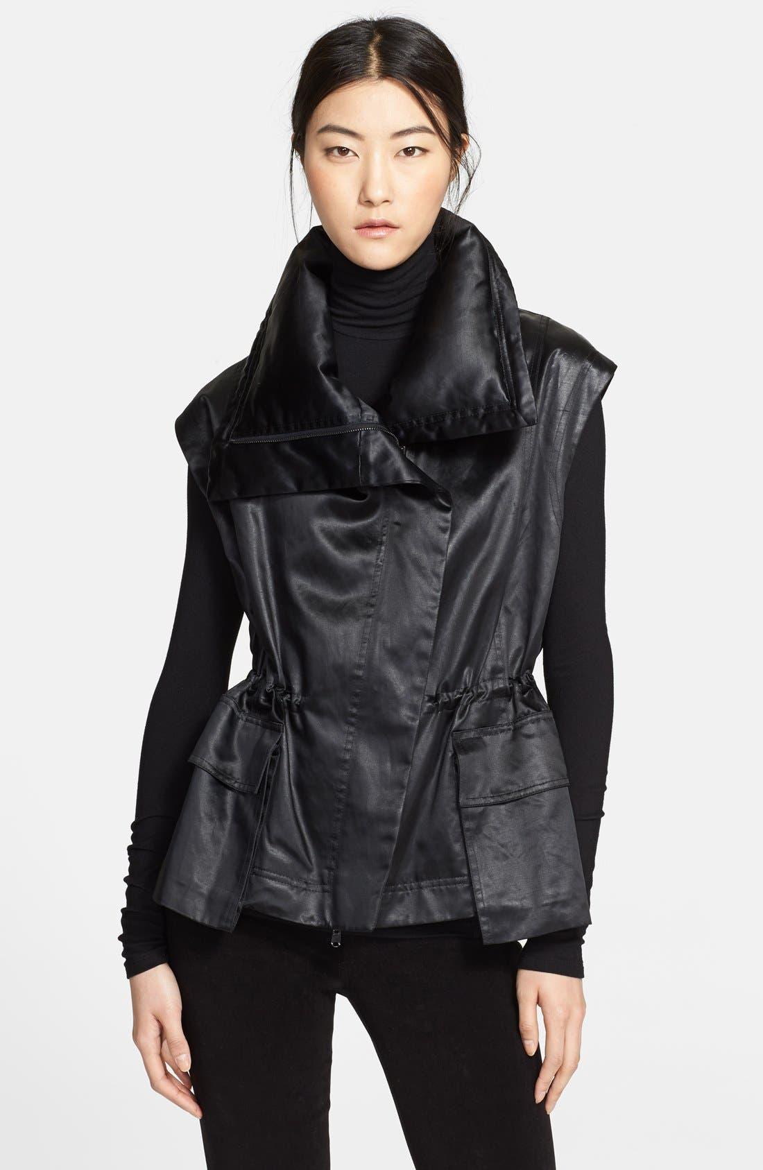 Donna Karan Collection Down Jacket with Detachable Satin Vest,                             Alternate thumbnail 2, color,                             001