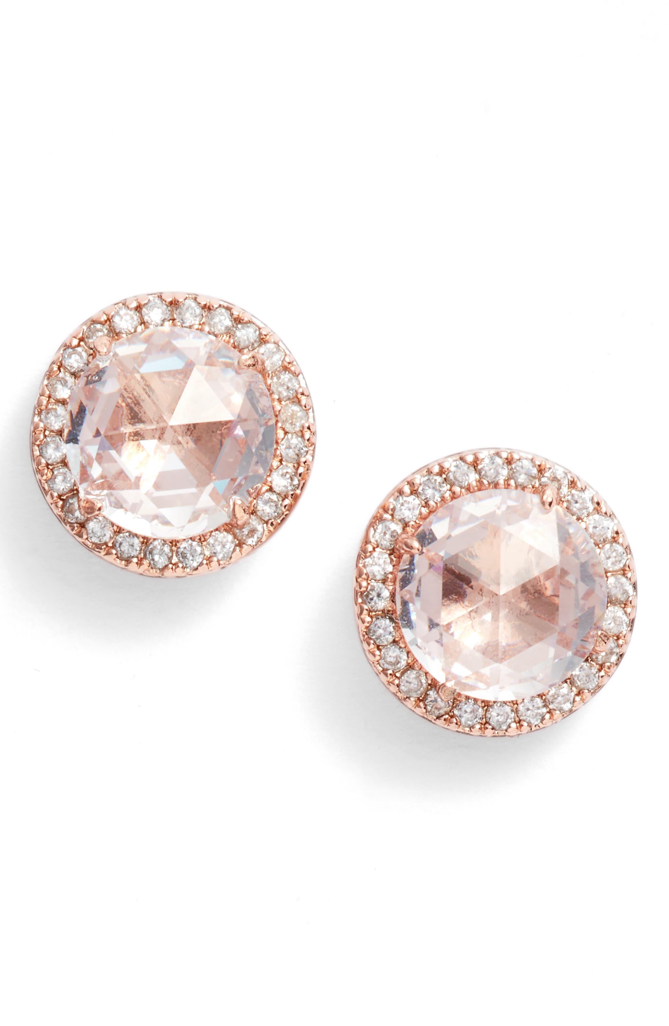 bright ideas pavé halo stud earrings,                         Main,                         color, 650