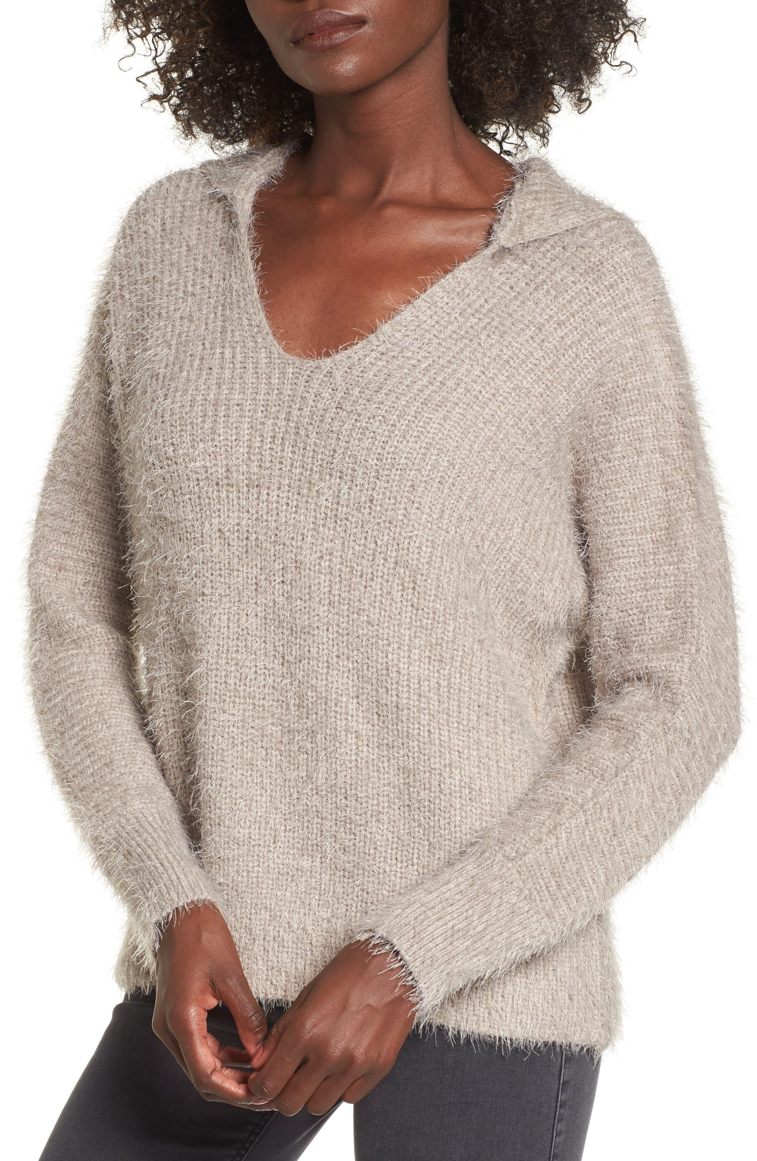 Eyelash Knit Hooded Sweater,                             Main thumbnail 1, color,