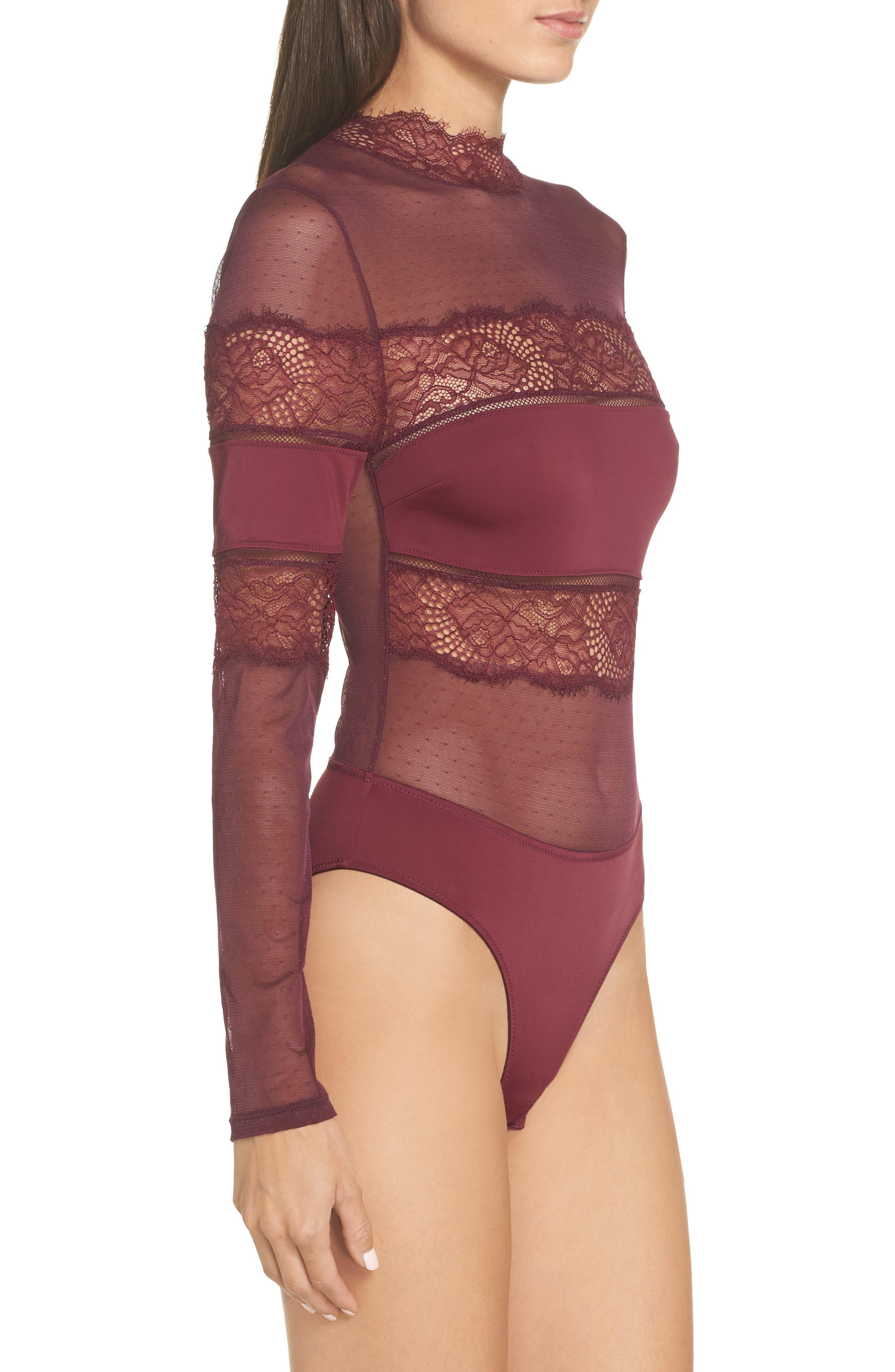 Amore Long Sleeve Bodysuit,                             Alternate thumbnail 3, color,                             CHERRY