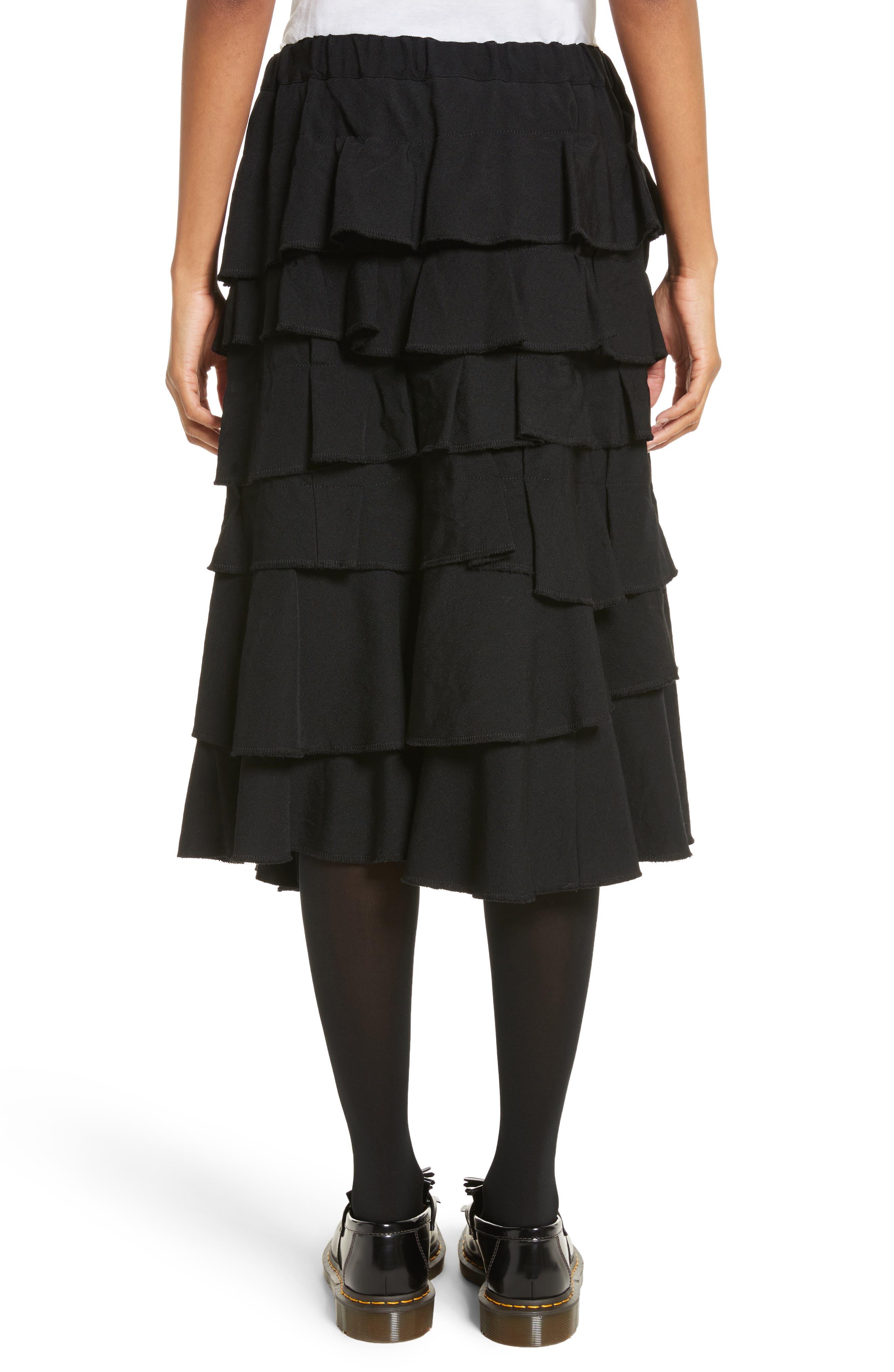 Ruffle Gabardine Skirt,                             Alternate thumbnail 2, color,                             001