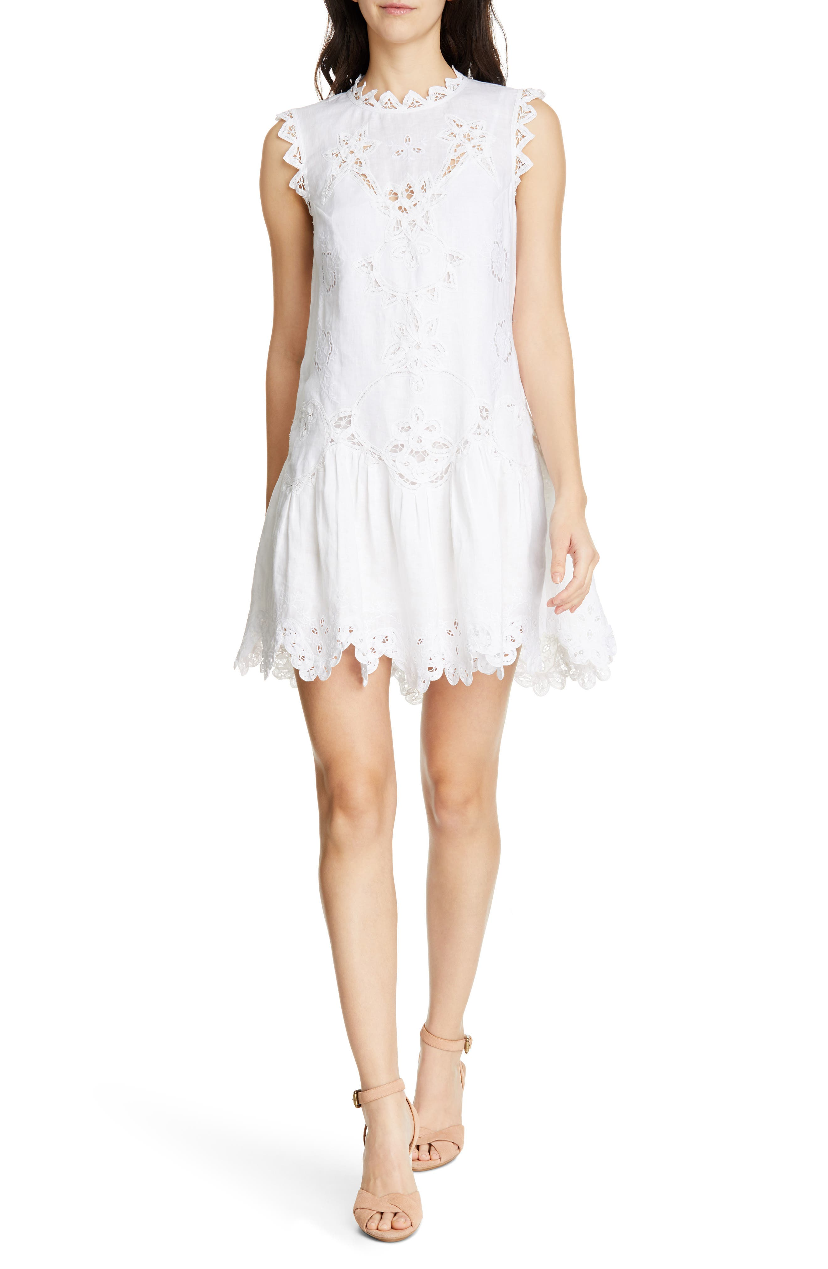 Rebecca Taylor Terri Embroidered Linen Minidress, White