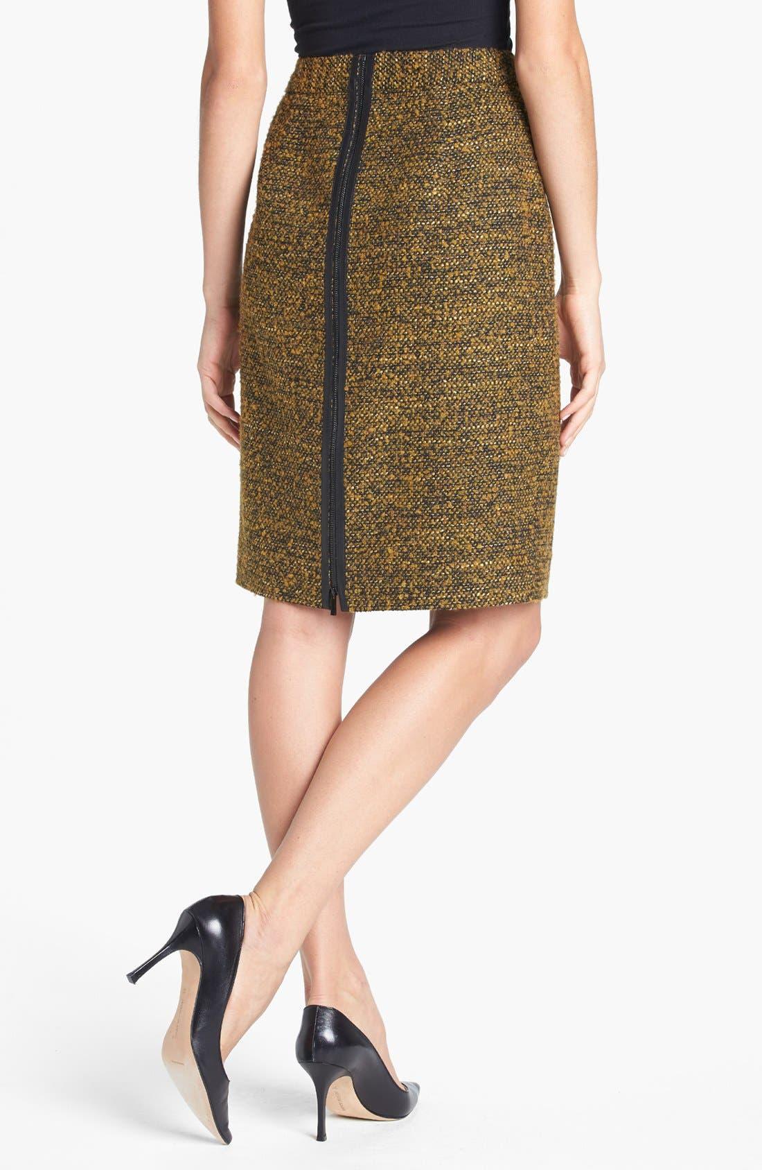 CLASSIQUES ENTIER<SUP>®</SUP>,                             'Kane Weave' Bouclé Skirt,                             Alternate thumbnail 3, color,                             001
