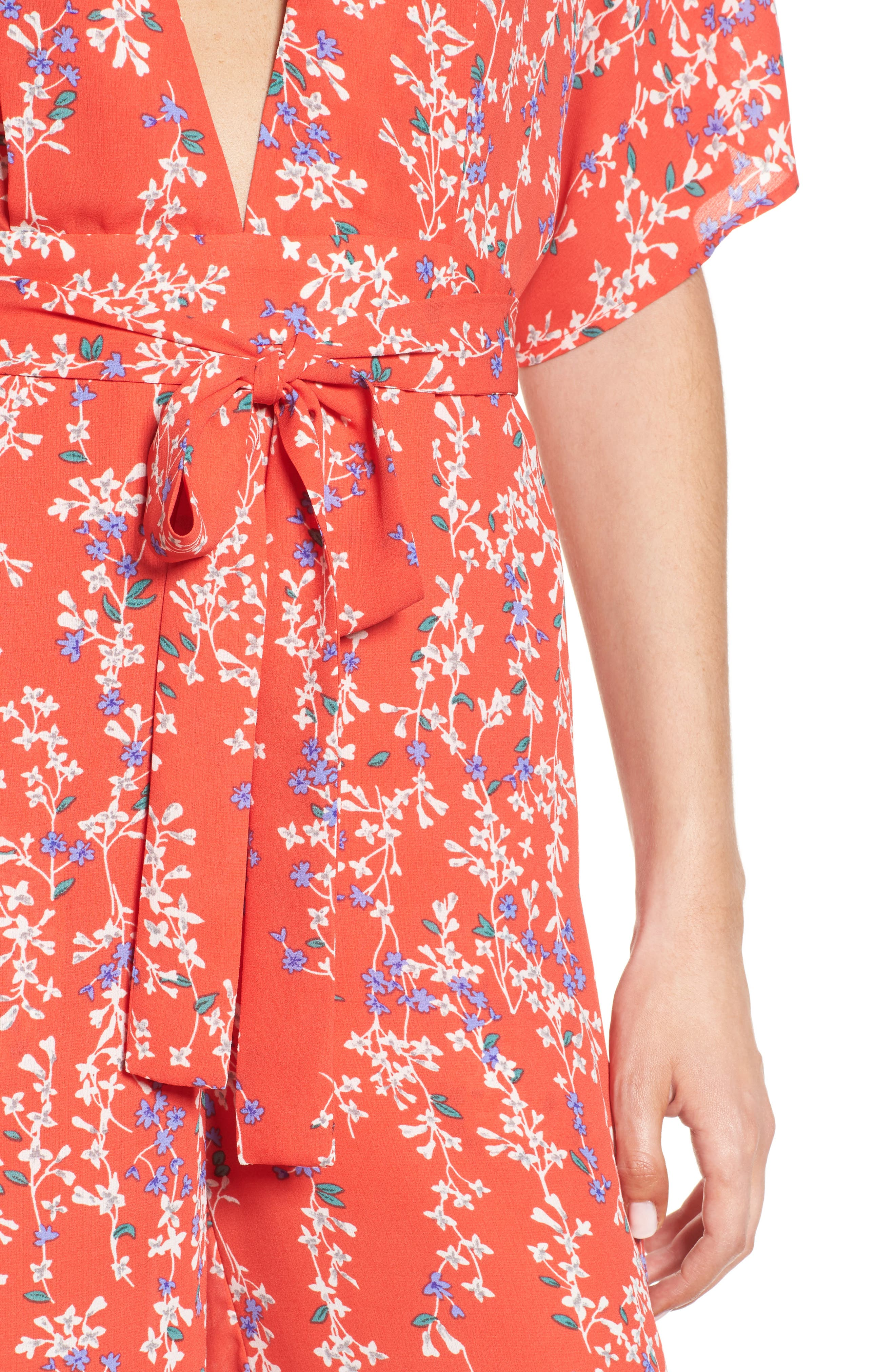 Floral Open Back Jumpsuit,                             Alternate thumbnail 4, color,                             RED MULTI