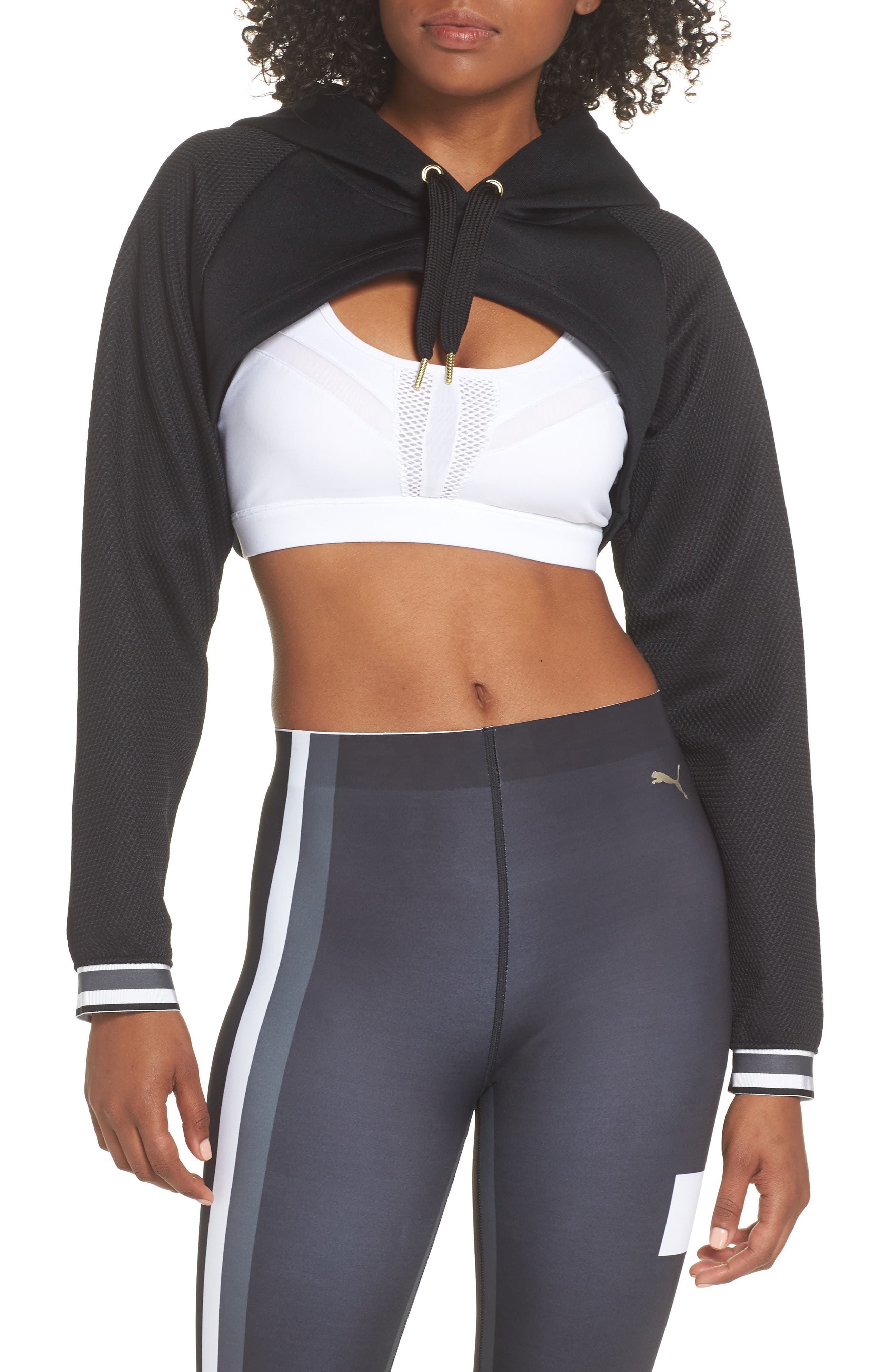 Varsity Cropped Cover-Up Hoodie,                         Main,                         color, 001