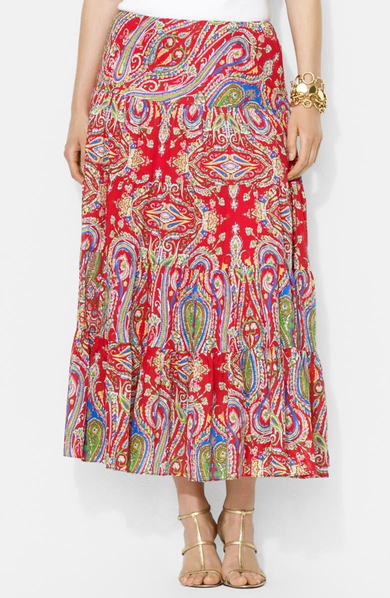 6dcfb9e173c5e Lauren Ralph Lauren Paisley Print Tiered Cotton Skirt (Plus Size ...