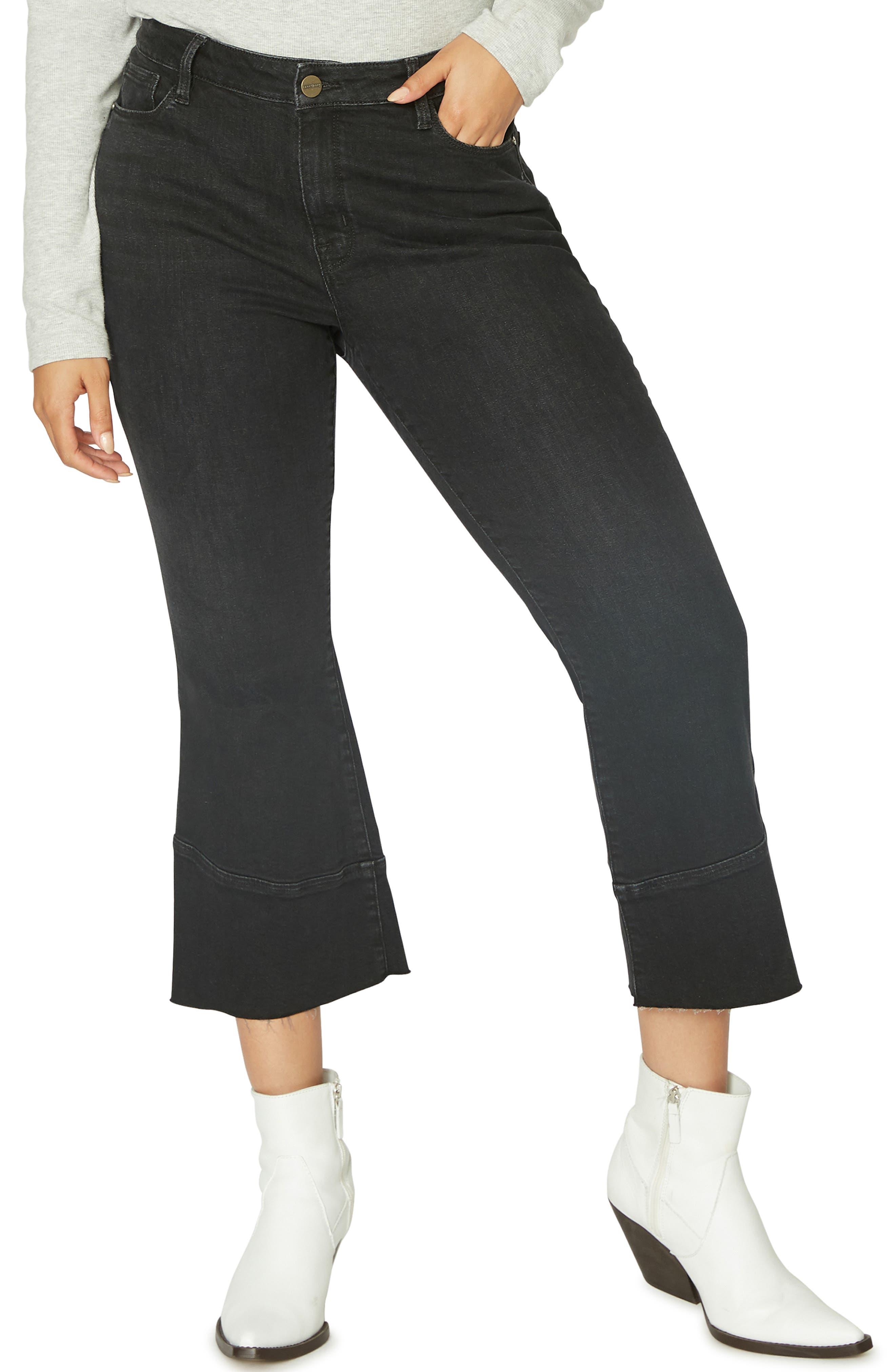 Tulip Hem Kick Crop Jeans,                             Main thumbnail 1, color,                             NOIR BLACK