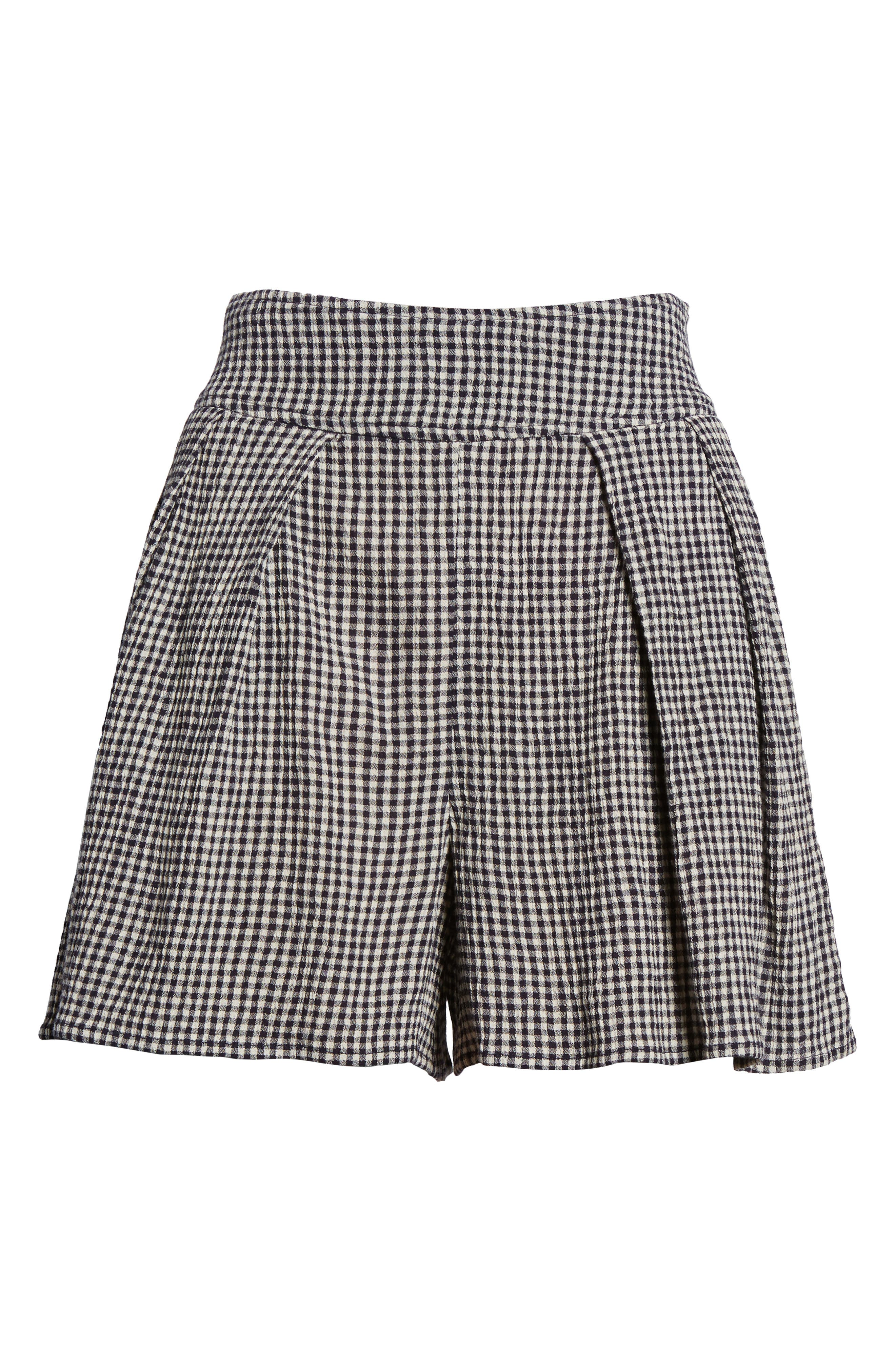 Pleated Gingham Shorts,                             Alternate thumbnail 6, color,                             001