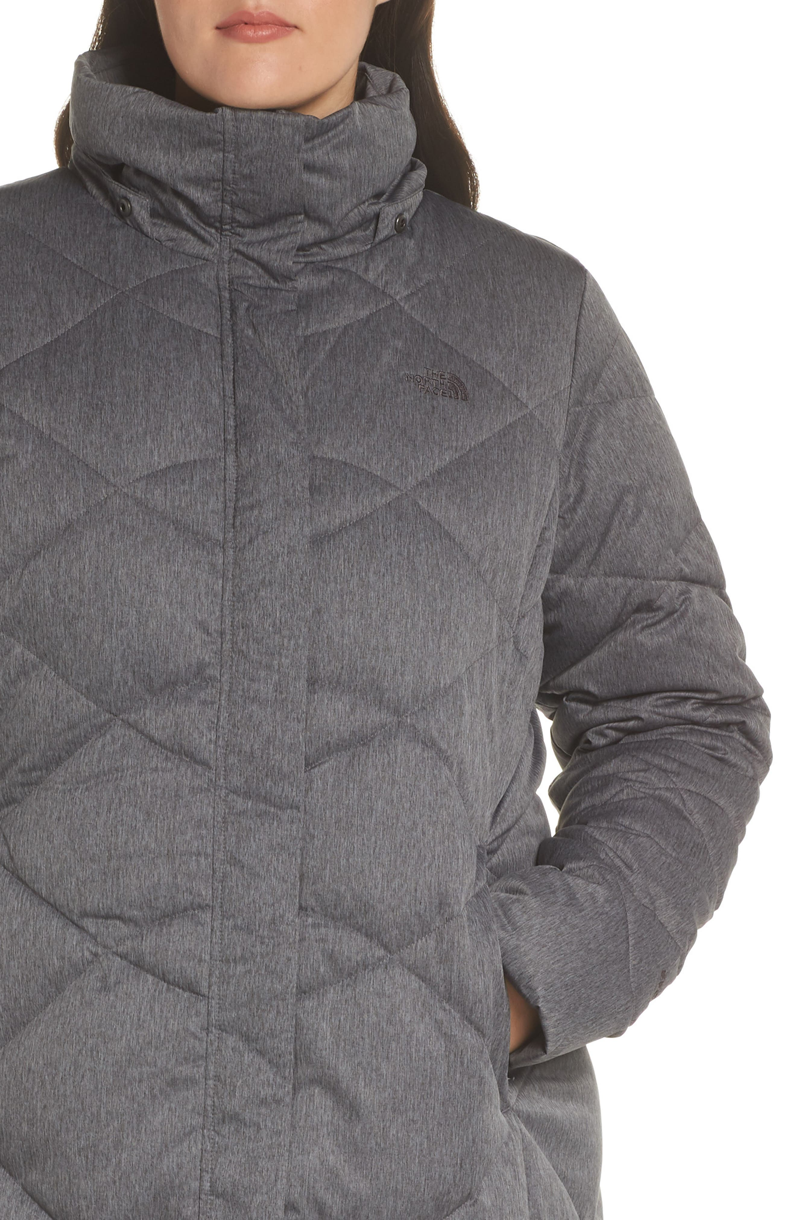 Miss Metro II Water Repellent 550 Fill Power Down Hooded Parka,                             Alternate thumbnail 11, color,                             TNF DARK GREY HEATHER