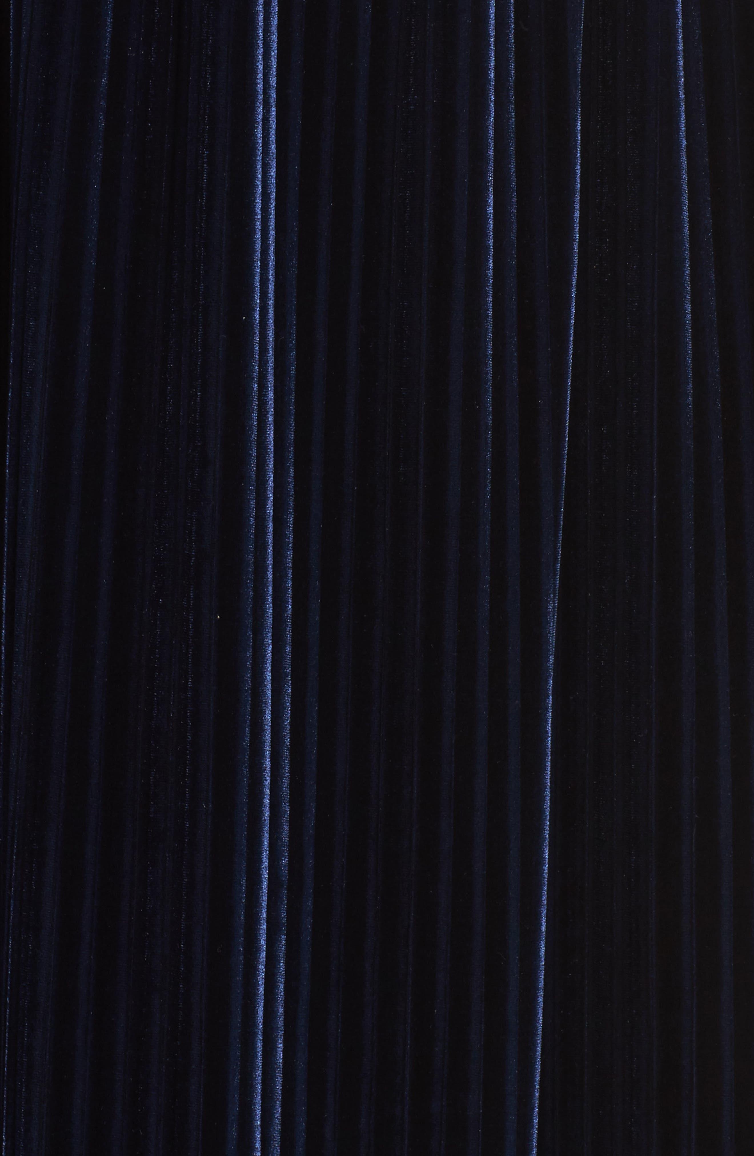 Crepe & Pleat Velvet Maxi Dress,                             Alternate thumbnail 5, color,