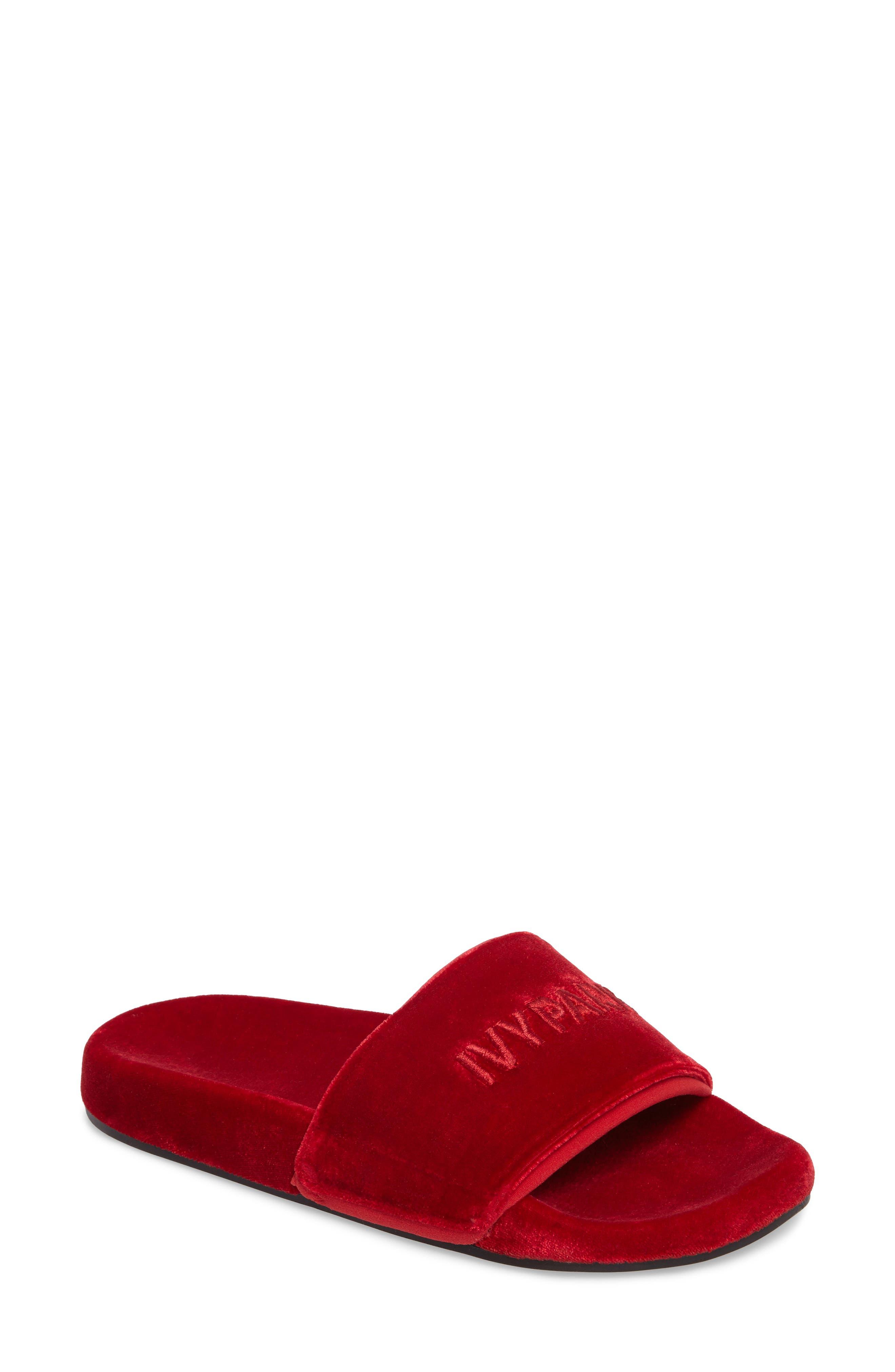Velvet Embossed Slide Sandal,                             Main thumbnail 1, color,                             600
