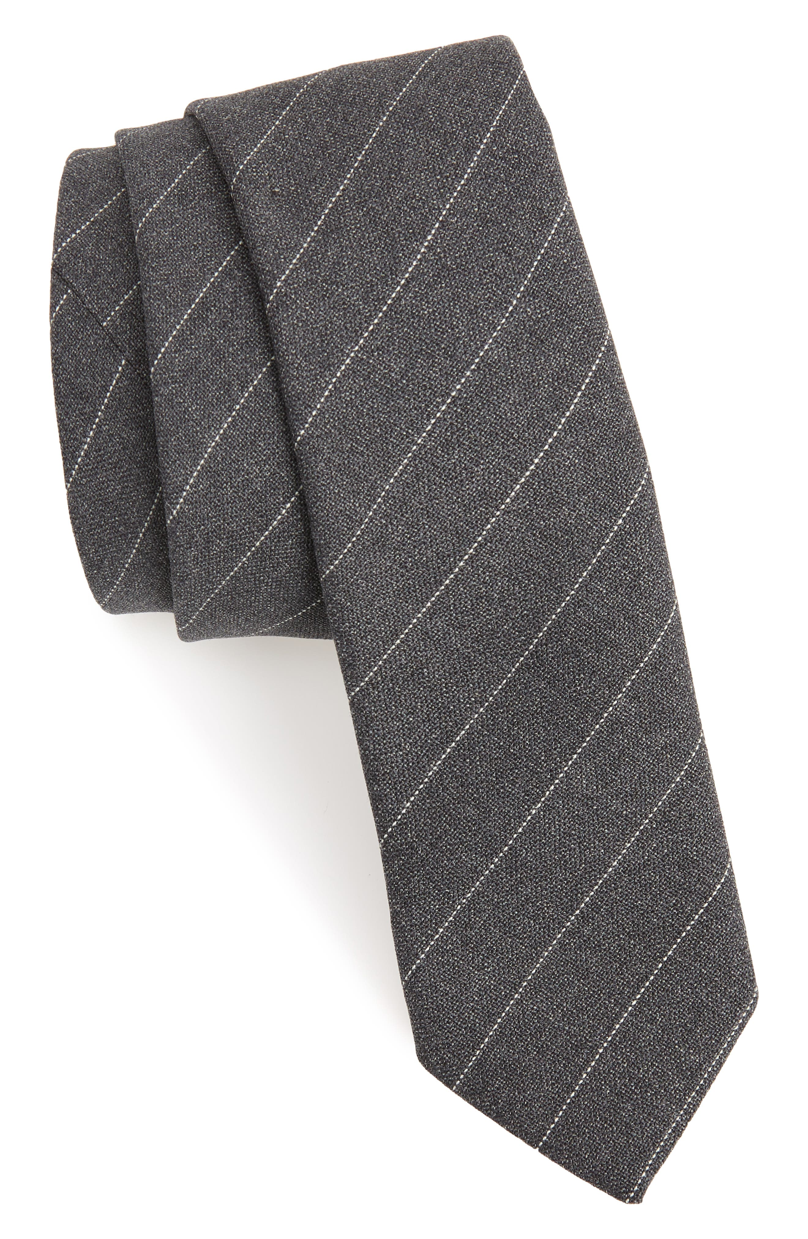 Stripe Wool Tie,                             Main thumbnail 1, color,                             DARK GREY