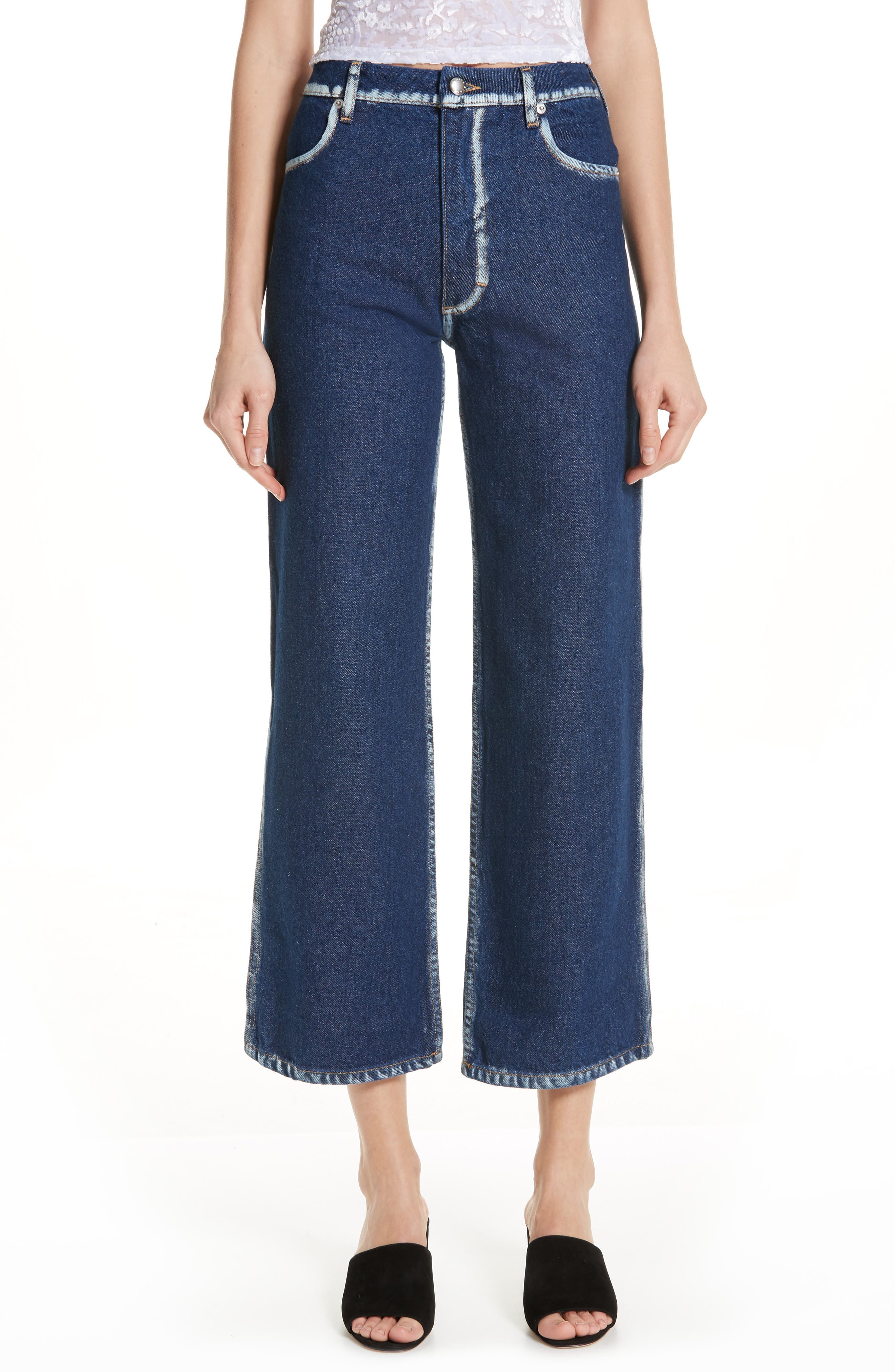 EL Painted Seam Wide Leg Jeans,                         Main,                         color, BLUE SEAM PAINTING