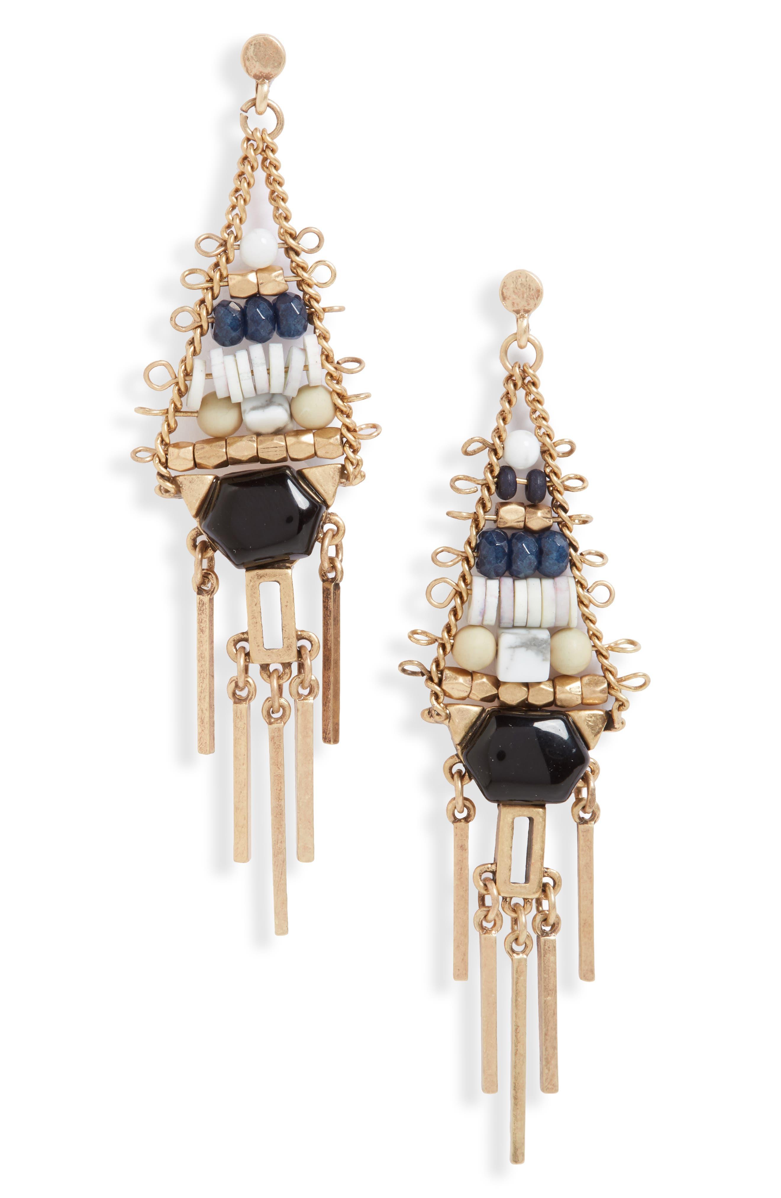Beaded Fringe Chandelier Earrings,                         Main,                         color, 260