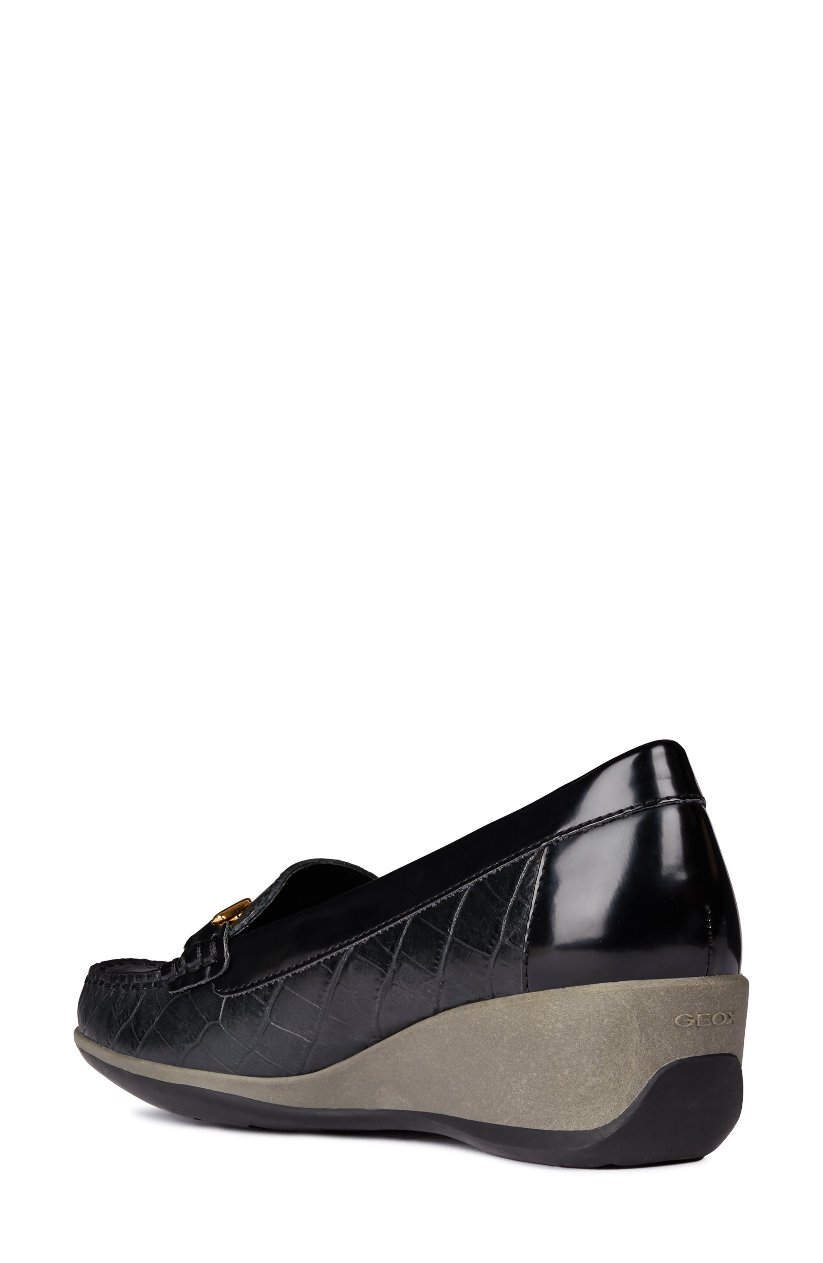 Arethea Loafer Wedge,                             Alternate thumbnail 2, color,                             BLACK LEATHER