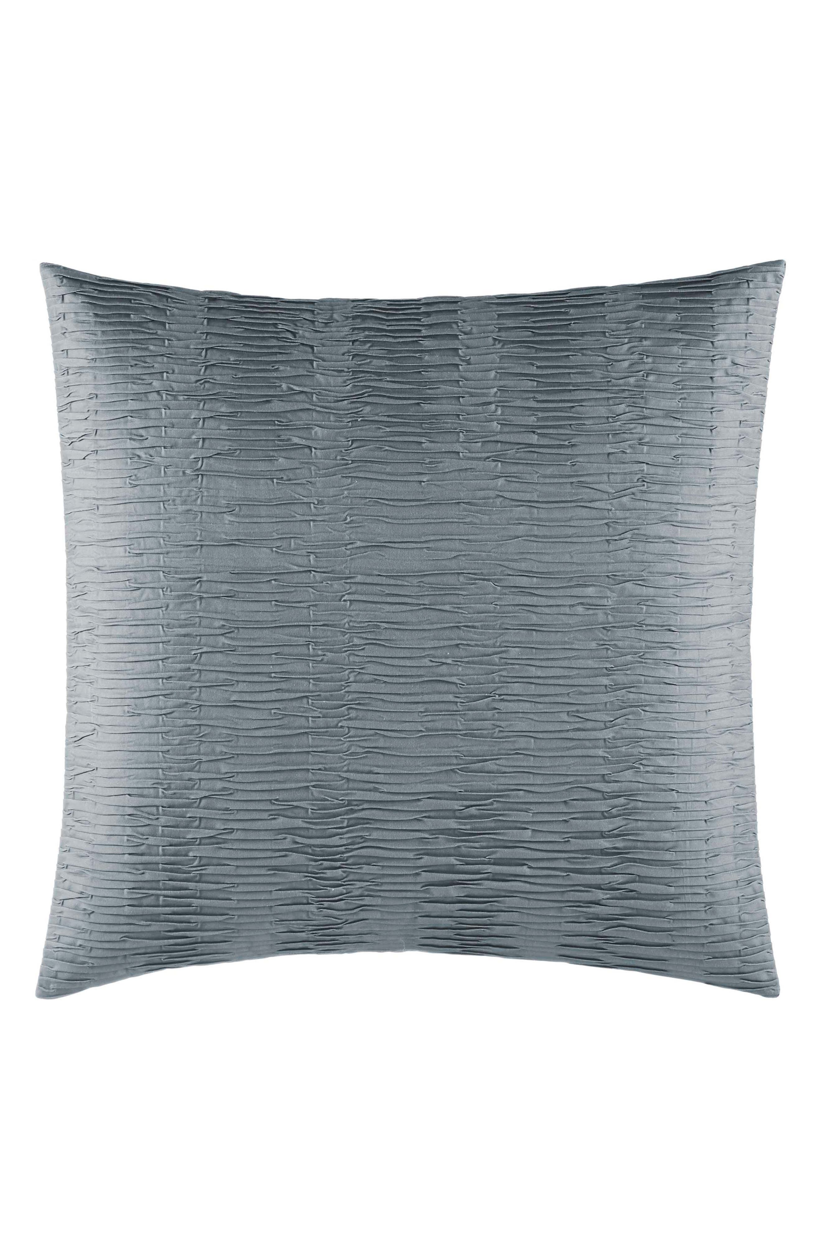 Marble Shibori Textured Pleat Euro Sham, Main, color, DARK SILVER BLUE