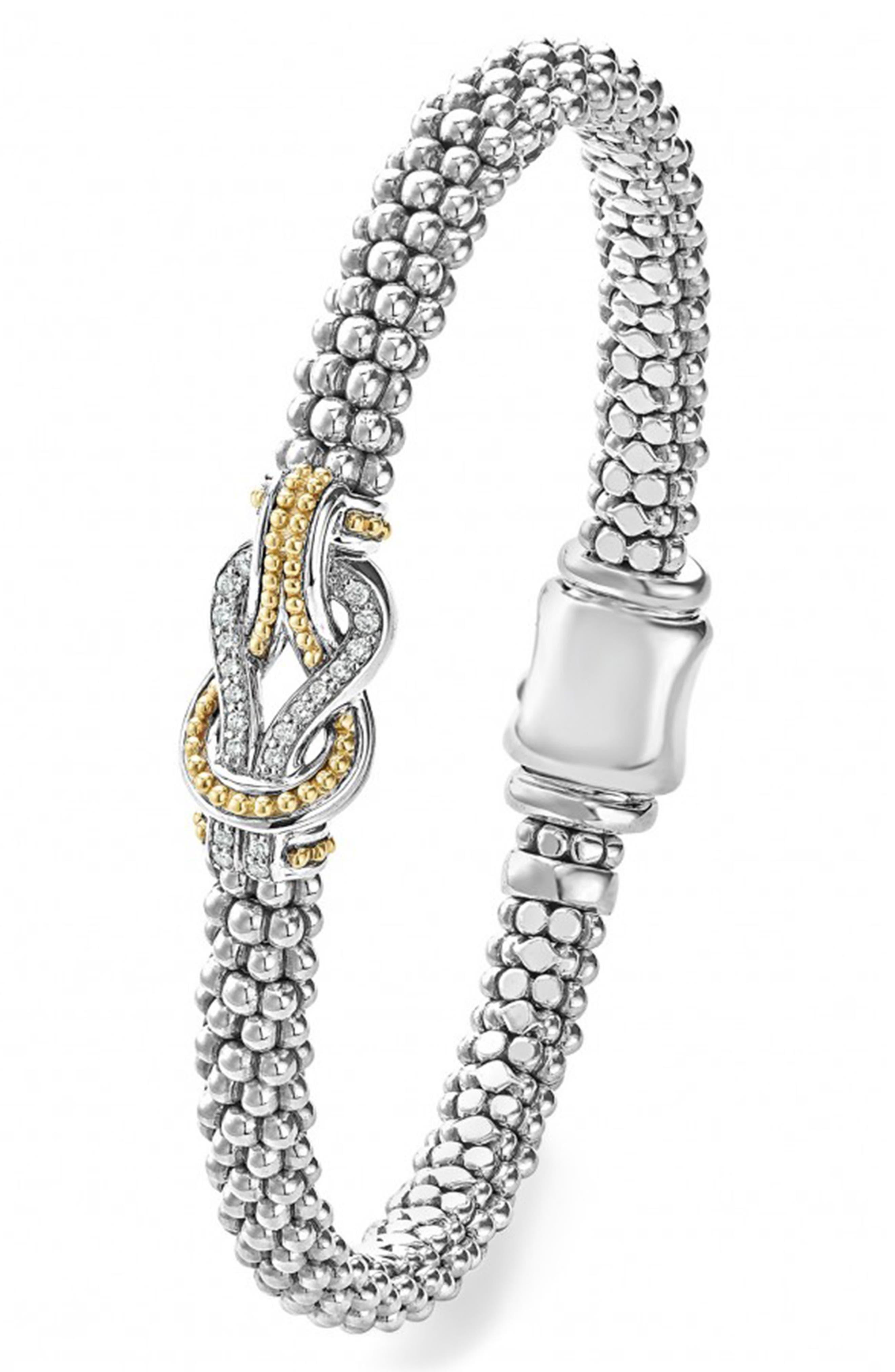 'Newport' Diamond Knot Bracelet,                             Alternate thumbnail 5, color,                             SILVER/ GOLD