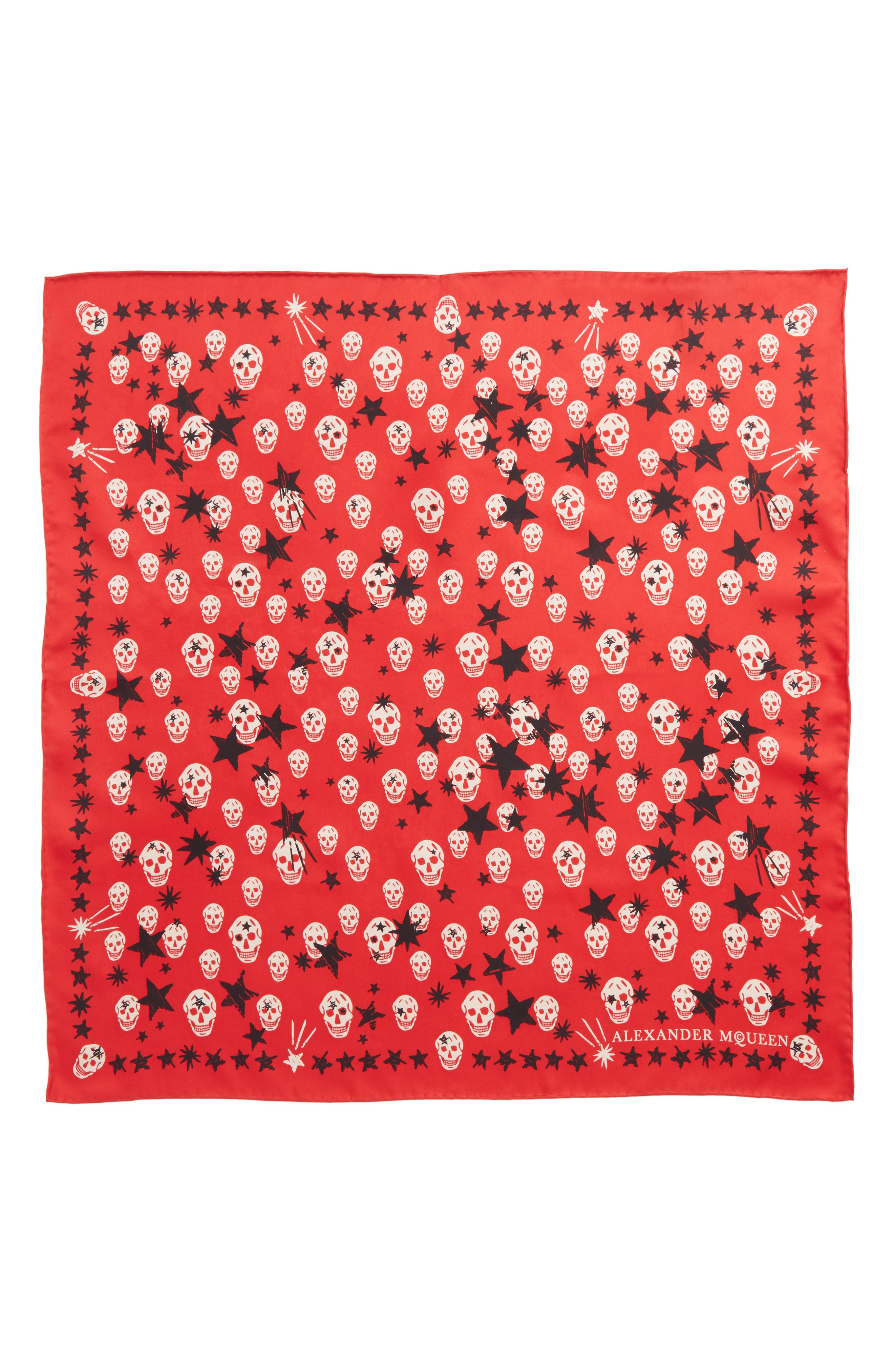 Starlight Skull Silk Bandana,                             Main thumbnail 1, color,                             RED/ PINK