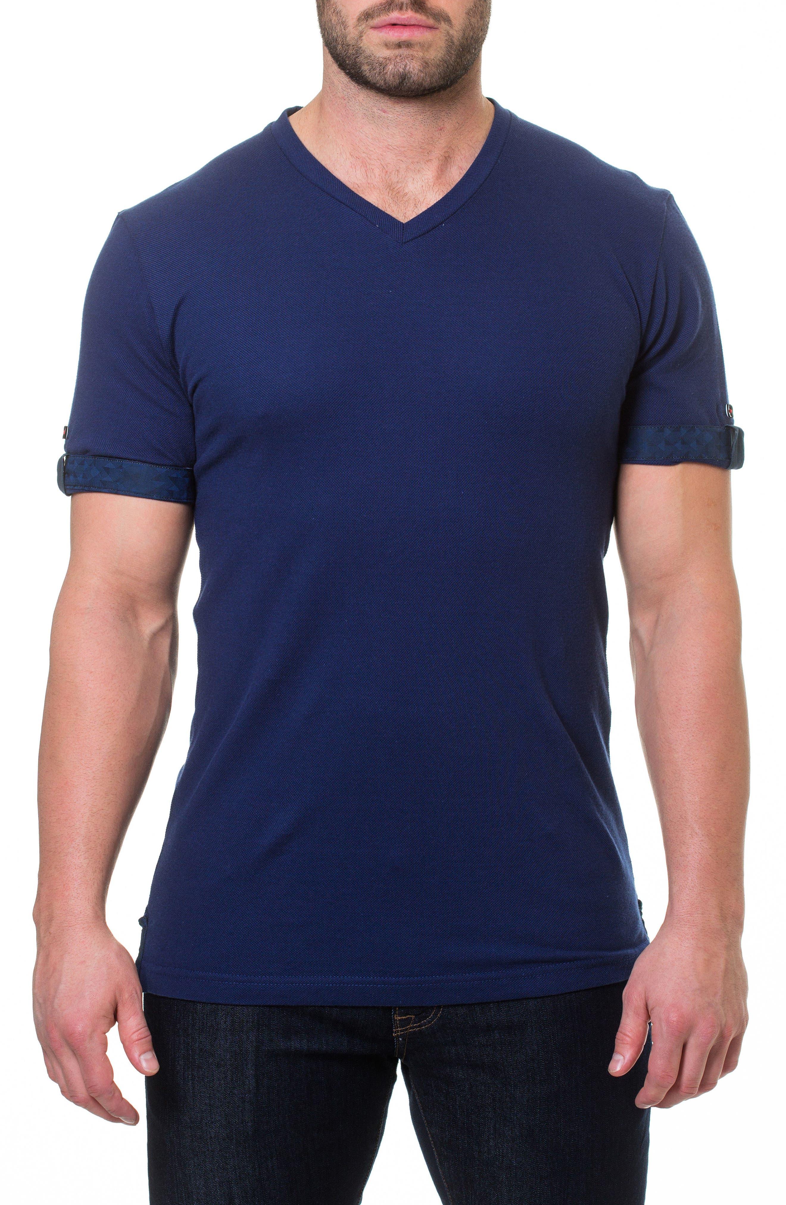 Short Sleeve V-Neck Piqué T-Shirt,                             Alternate thumbnail 4, color,                             BLUE