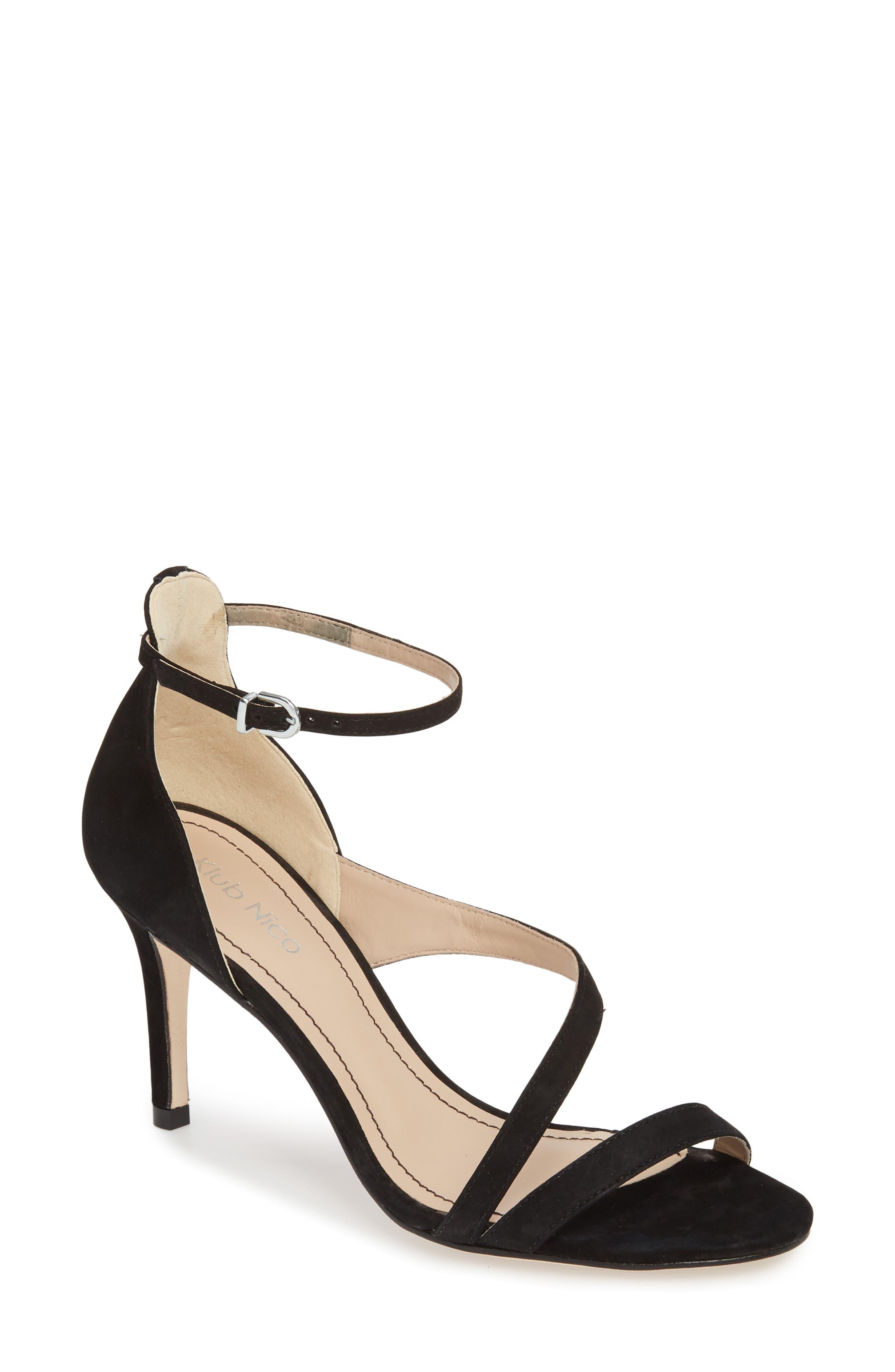 Aleda Sandal,                         Main,                         color, BLACK NUBUCK LEATHER