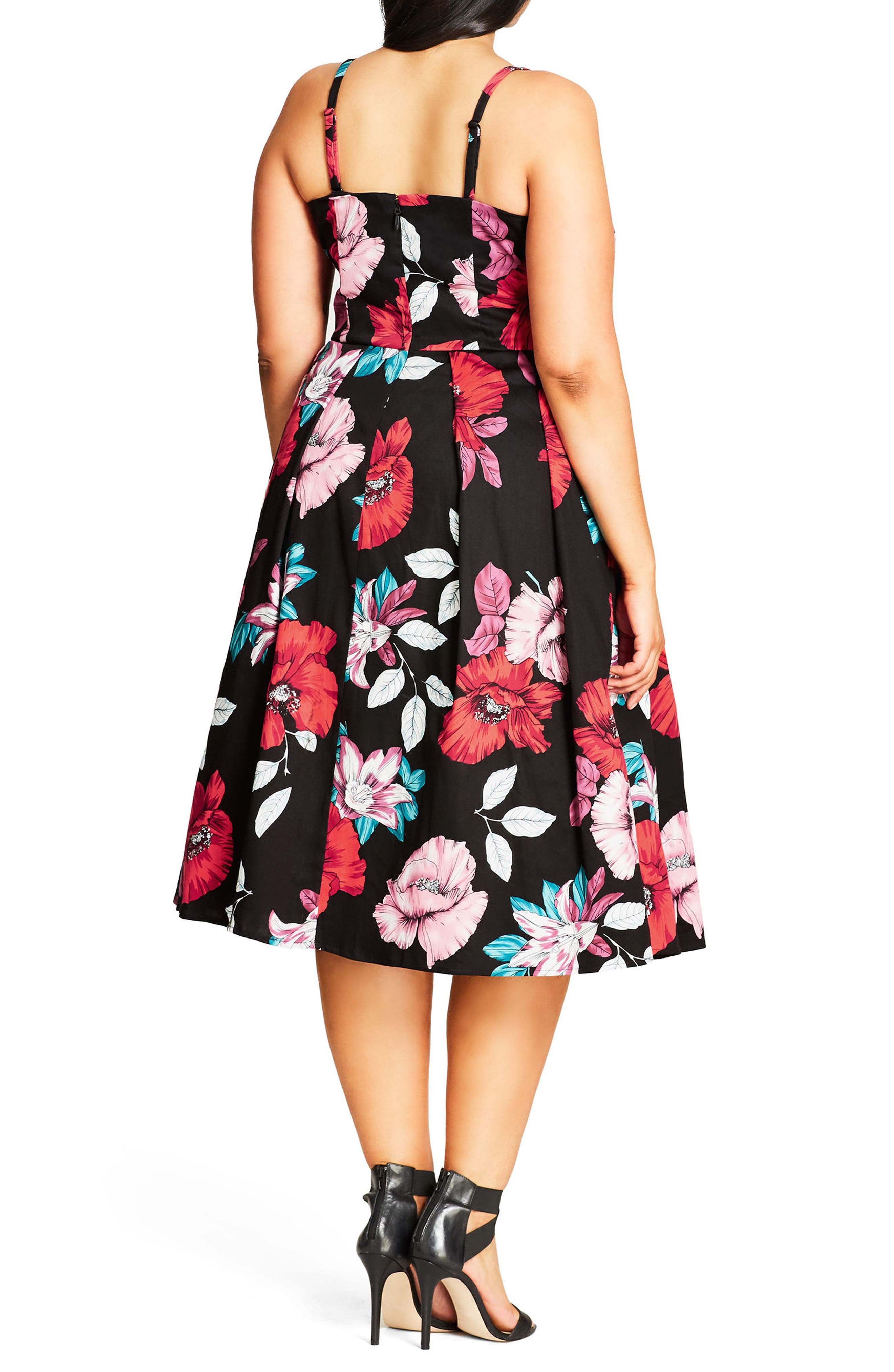Poppy Garden Fit & Flare Dress,                             Alternate thumbnail 2, color,                             001