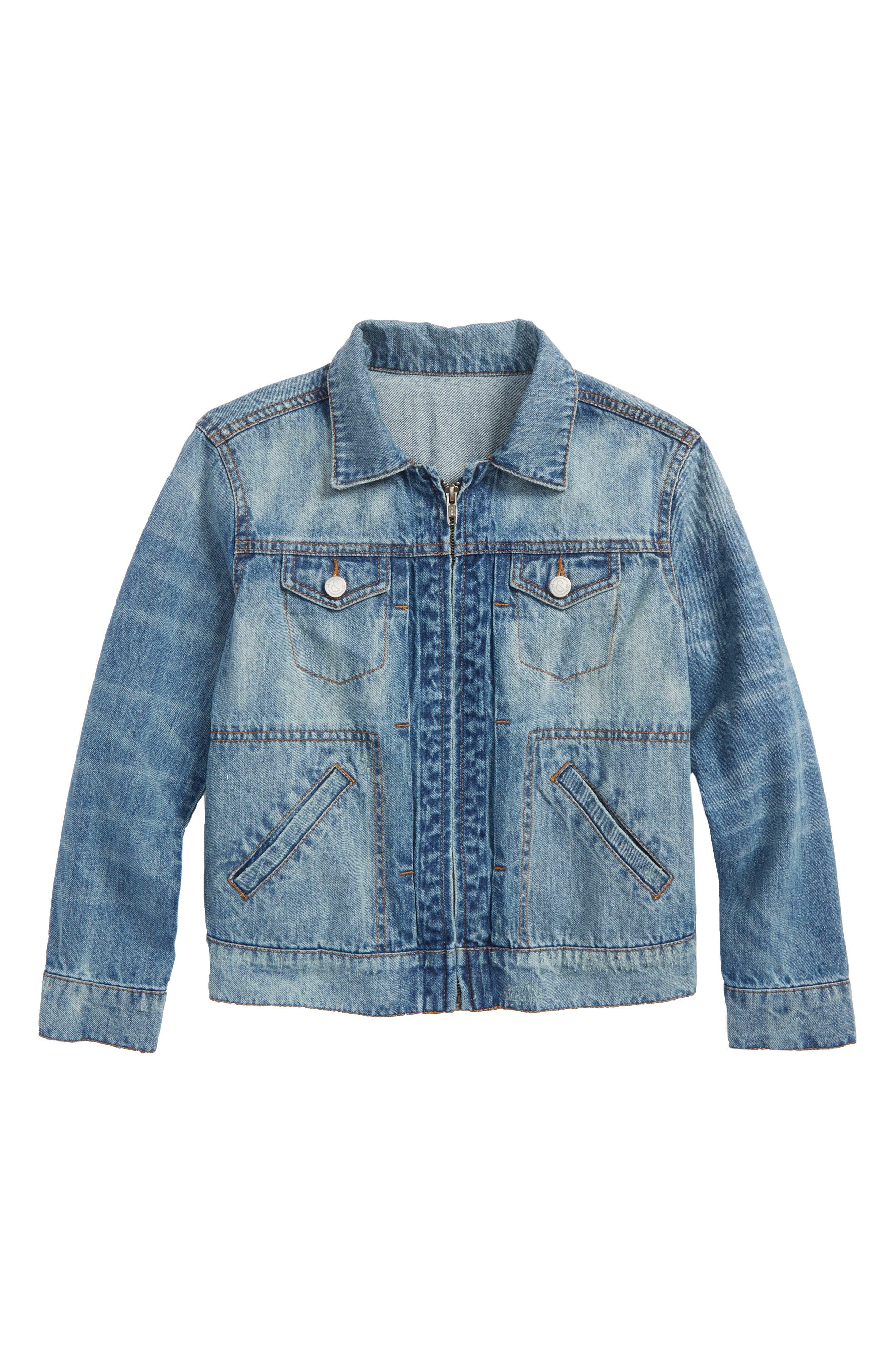 Front Zip Denim Jacket,                         Main,                         color, 420