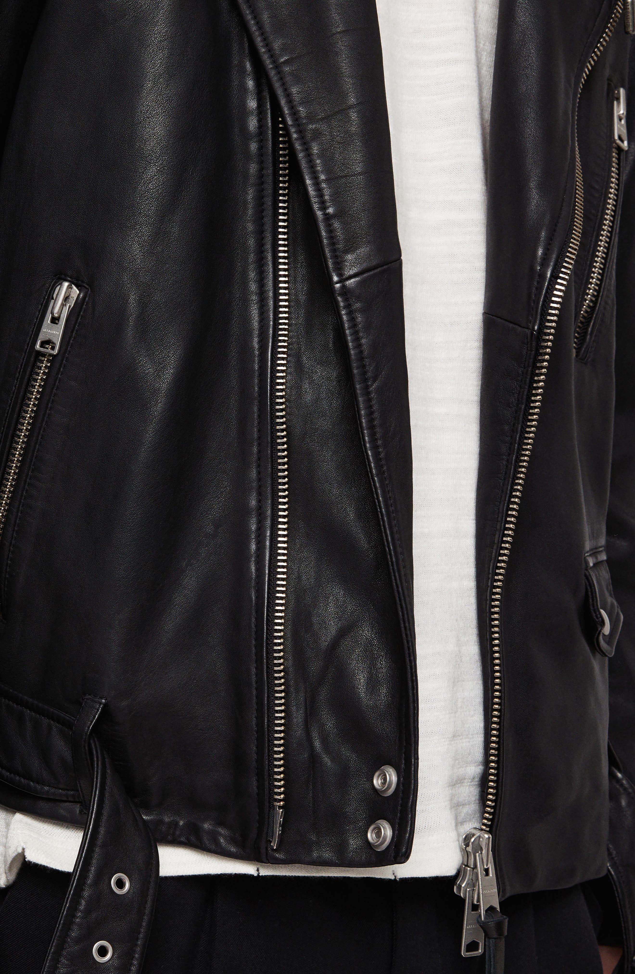 Renzo Slim Fit Leather Biker Jacket,                             Alternate thumbnail 4, color,                             BLACK