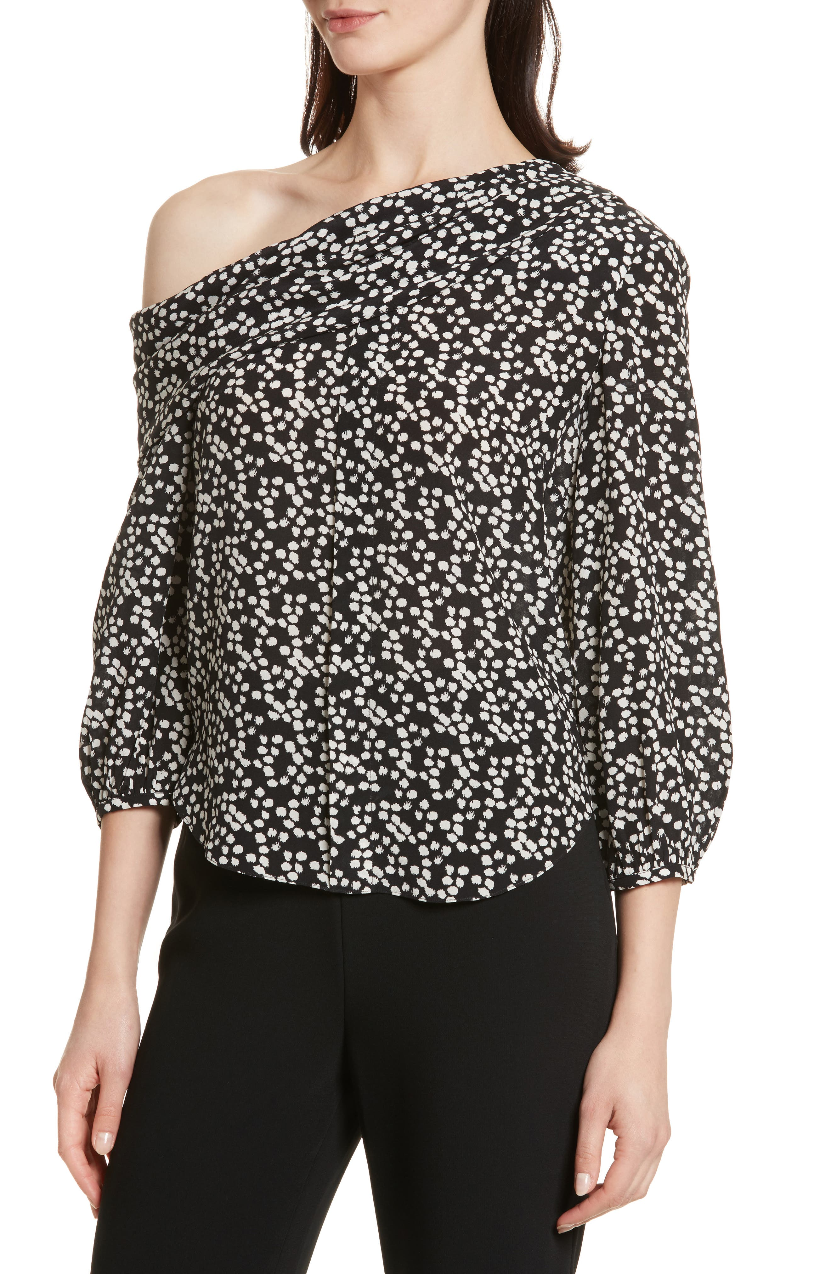 Ness Print Silk Off the Shoulder Top,                             Alternate thumbnail 4, color,