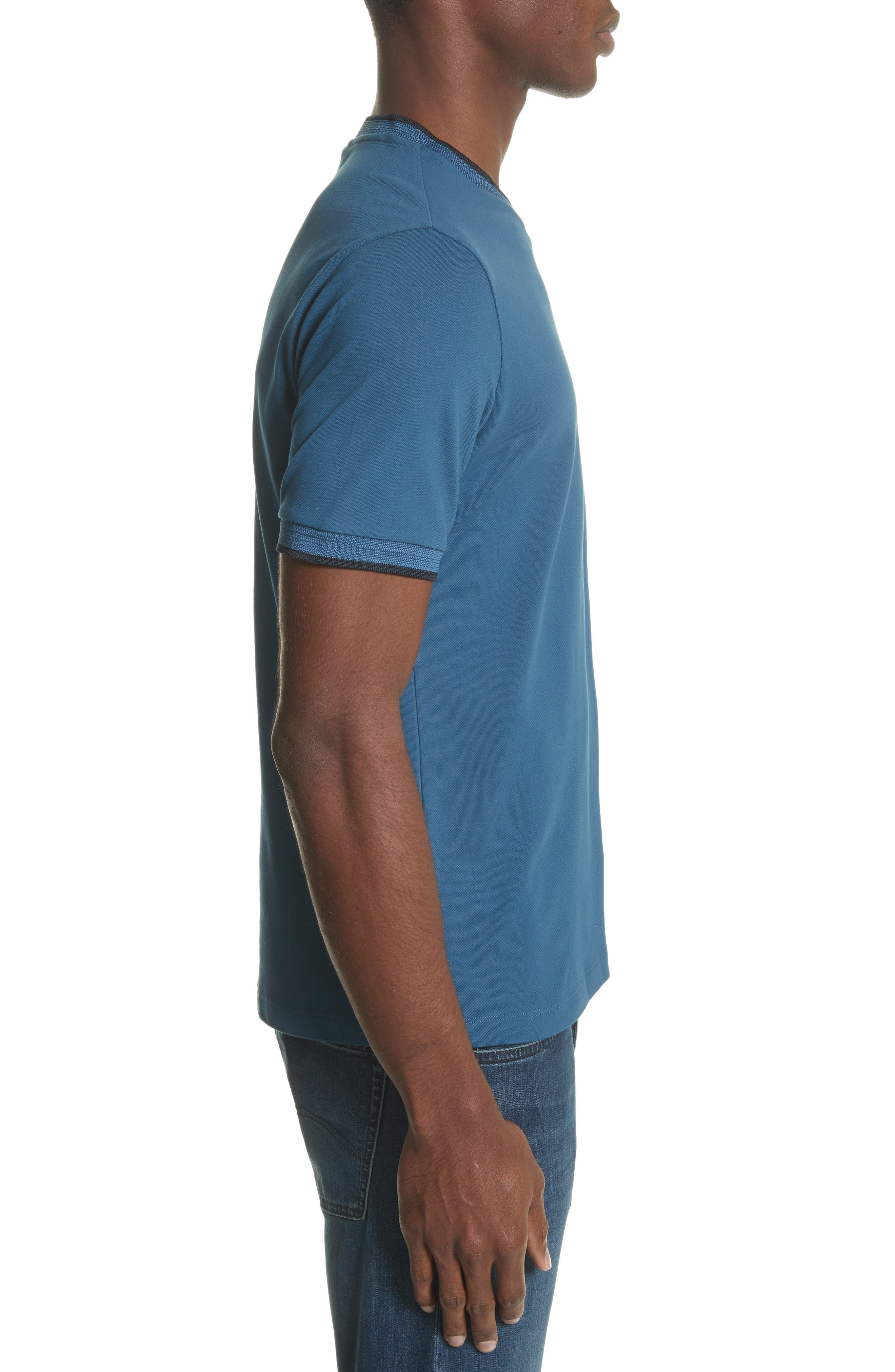 Slim Fit V-Neck Piqué T-Shirt,                             Alternate thumbnail 6, color,