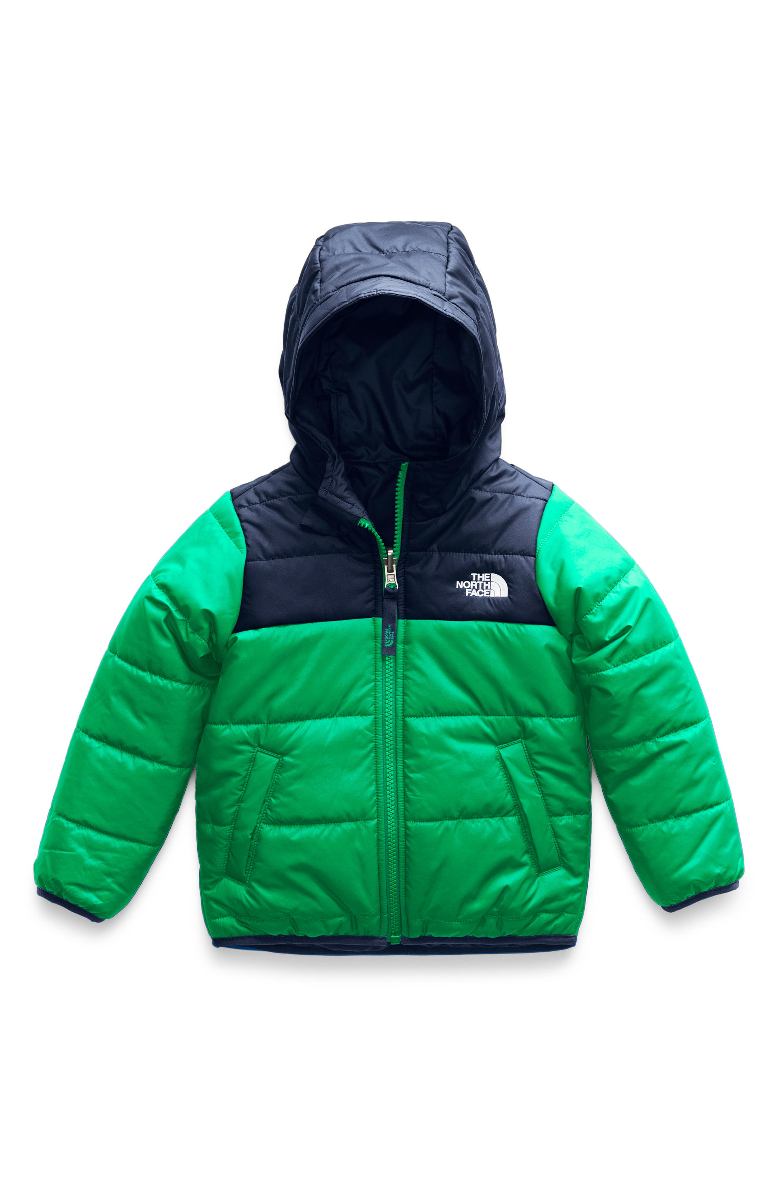 Boys The North Face Perrito Reversible Water Repellent Hooded Jacket Size 5  Green