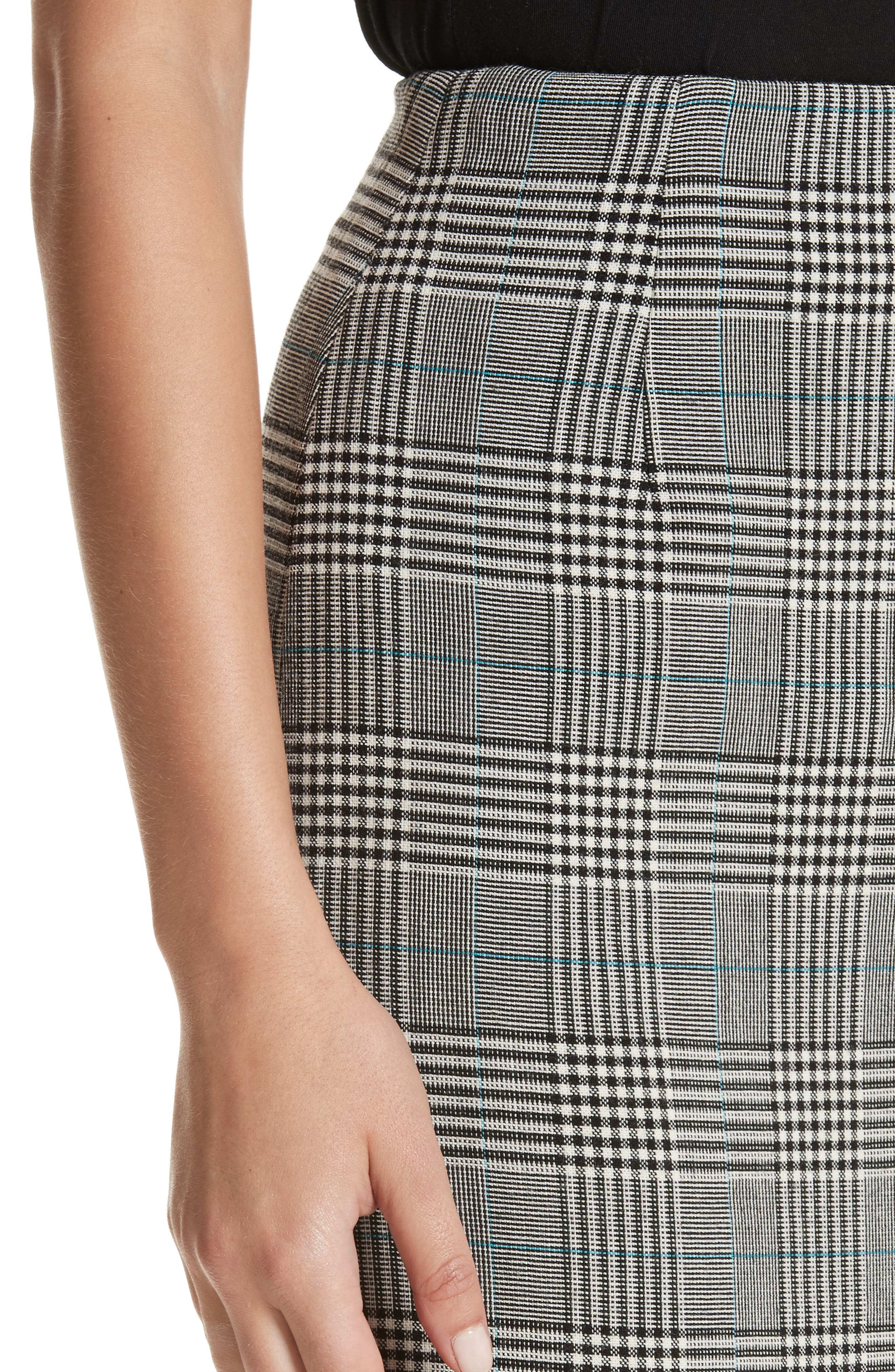 Prince of Wales High Waist Pencil Skirt,                             Alternate thumbnail 4, color,                             001