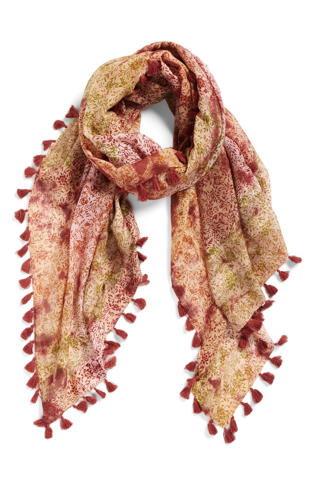 Floral Print Silk & Cotton Scarf,                             Main thumbnail 1, color,