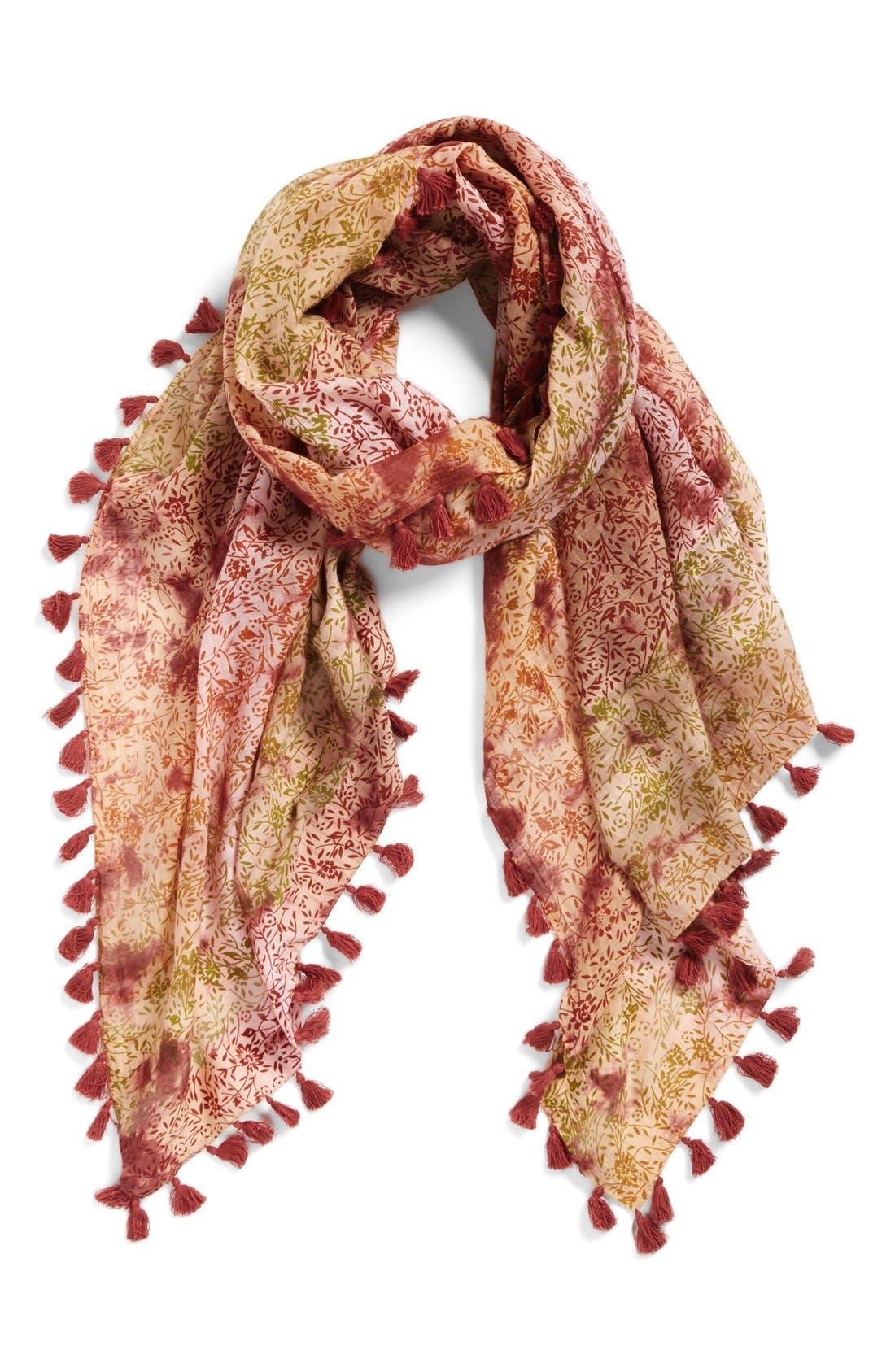 Floral Print Silk & Cotton Scarf,                         Main,                         color,
