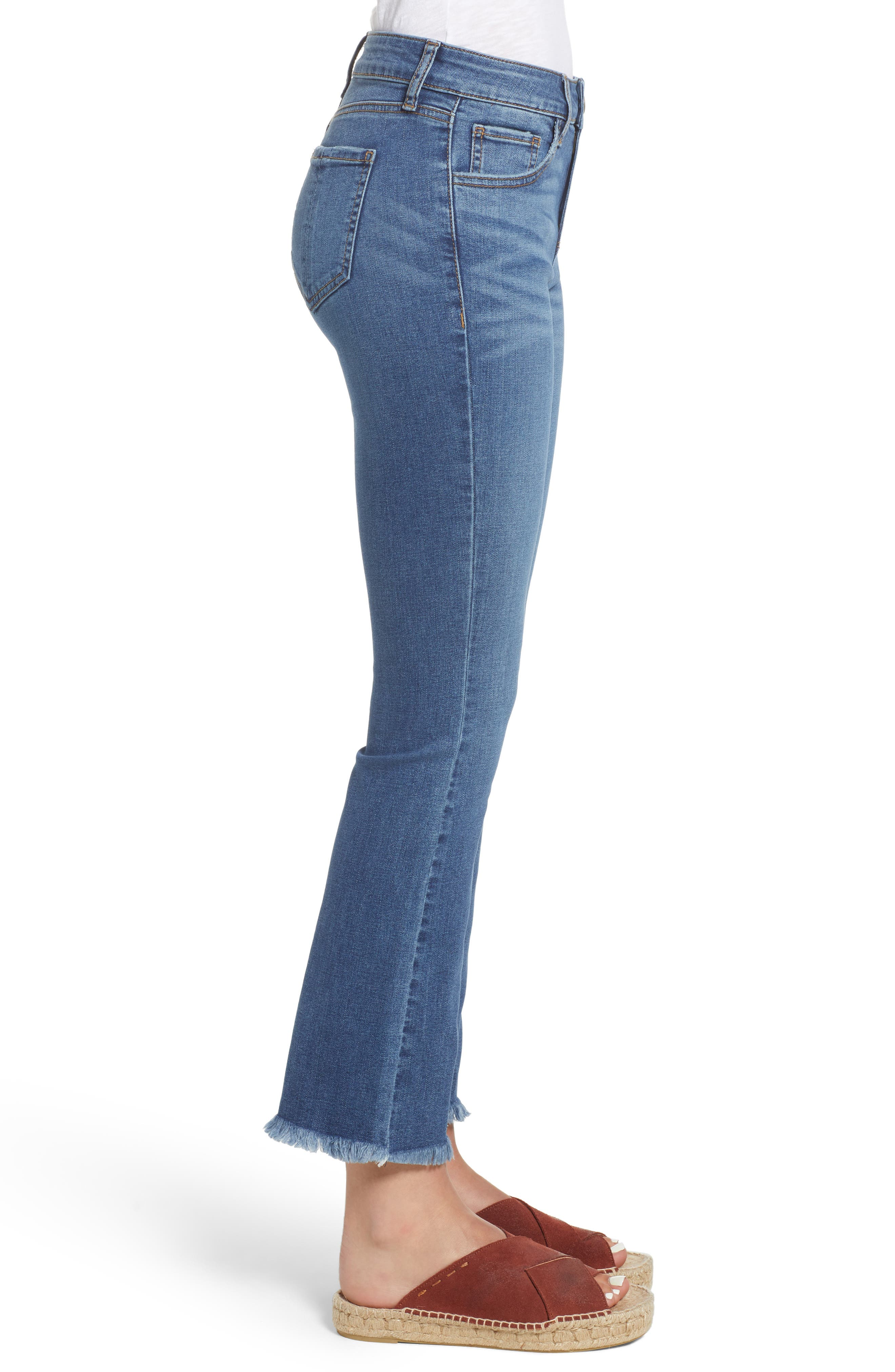 High Waist Crop Flare Jeans,                             Alternate thumbnail 3, color,                             COOL GIRL MED WASH